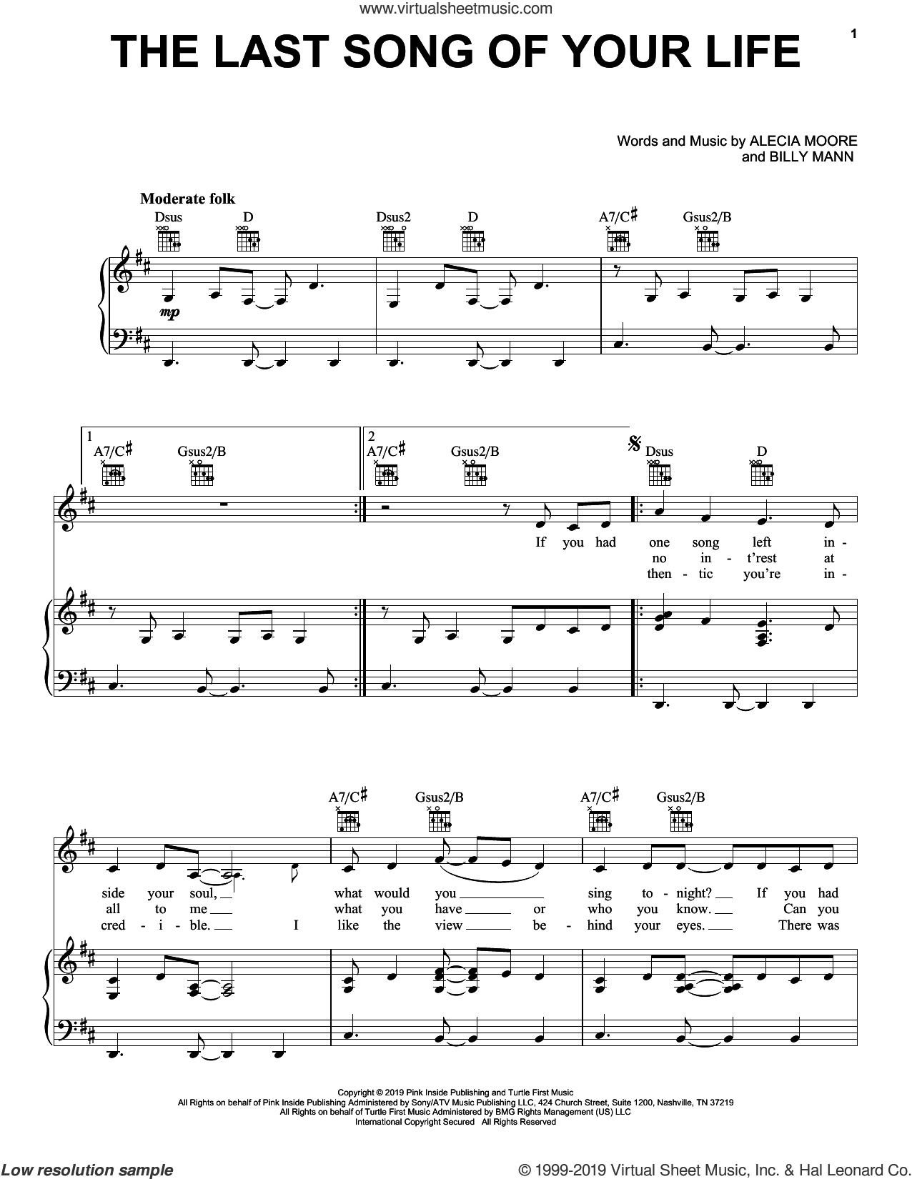 The Last Song Of Your Life sheet music for voice, piano or guitar , P!nk, Alecia Moore and Billy Mann, intermediate skill level