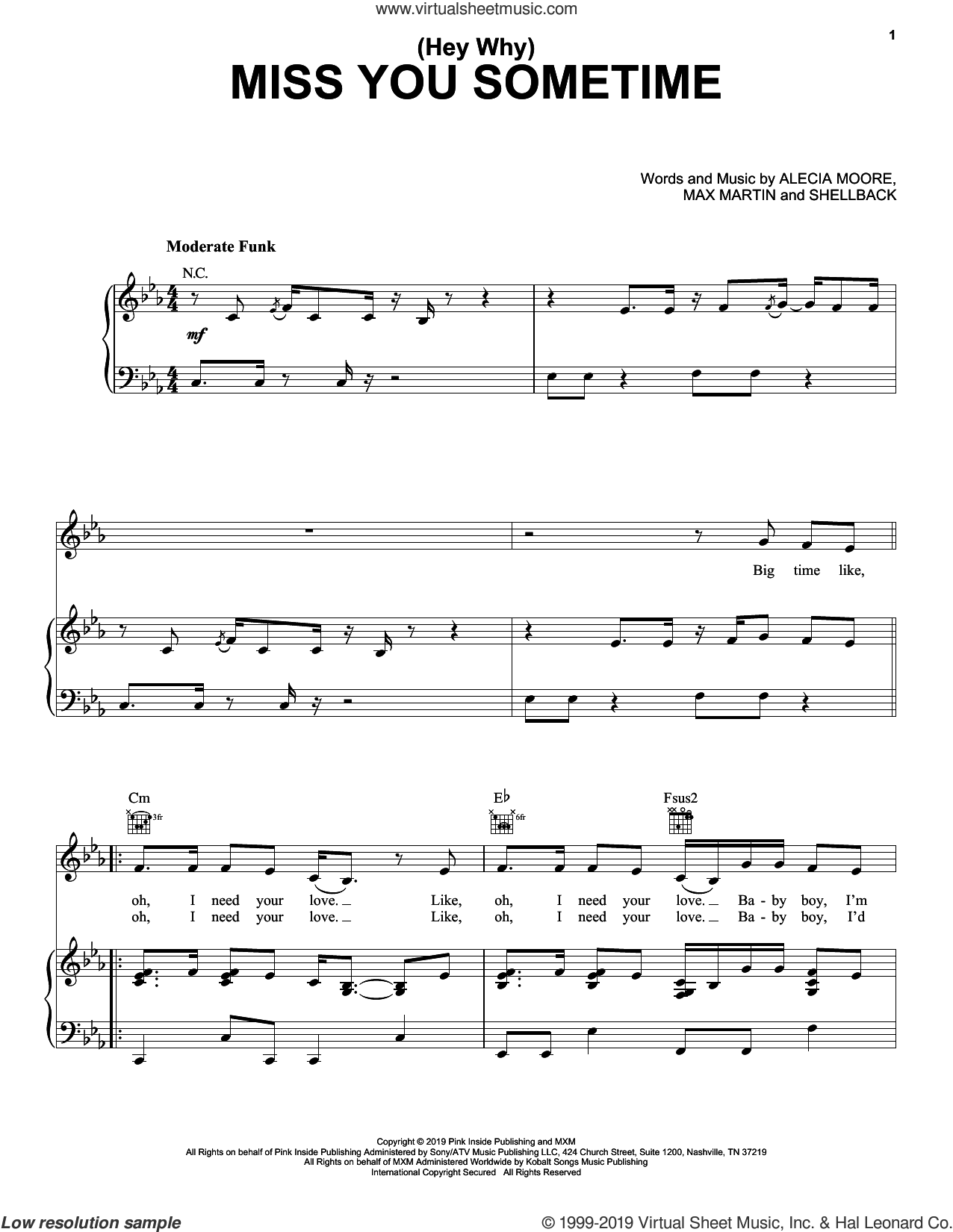 (Hey Why) Miss You Sometime sheet music for voice, piano or guitar by Max Martin, Miscellaneous, P!nk, Alecia Moore and Shellback, intermediate skill level