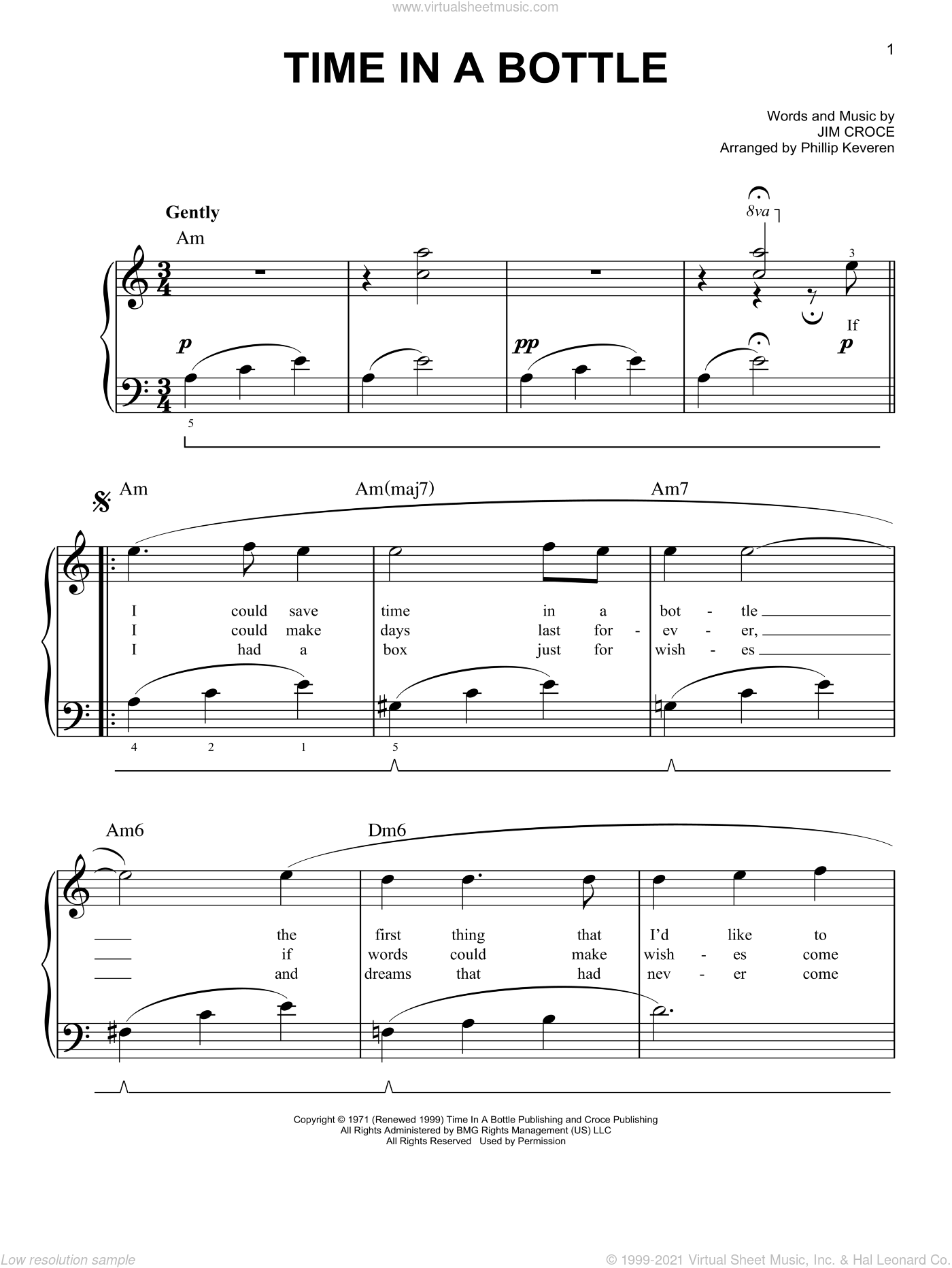 Time In A Bottle sheet music for piano solo by Jim Croce, easy skill level