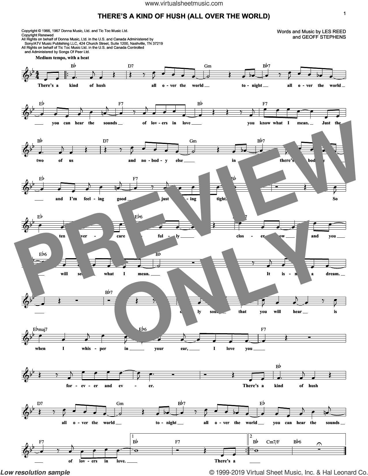 There's A Kind Of Hush (All Over The World) sheet music for voice and other instruments (fake book) by Herman's Hermits, Geoff Stephens and Les Reed, intermediate skill level