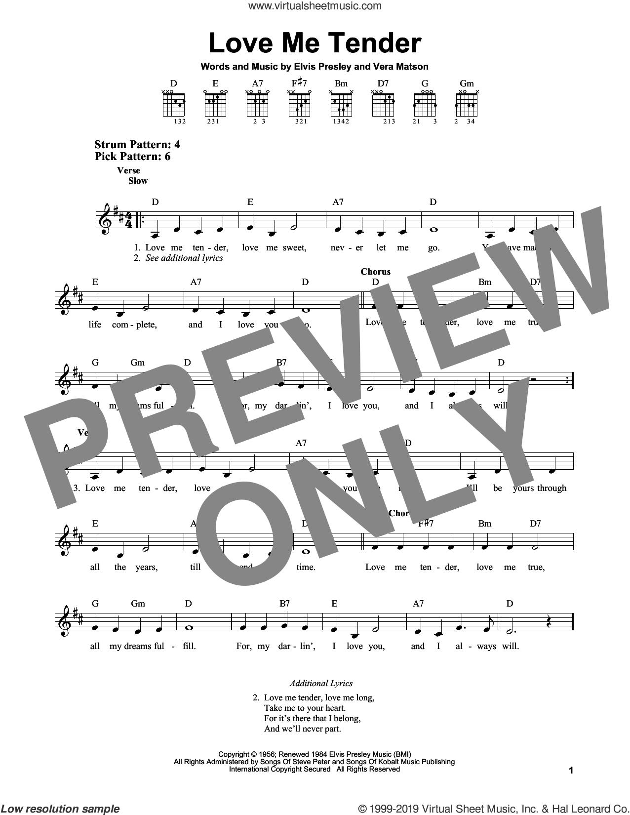 Love Me Tender sheet music for guitar solo (chords) by Elvis Presley, easy guitar (chords)