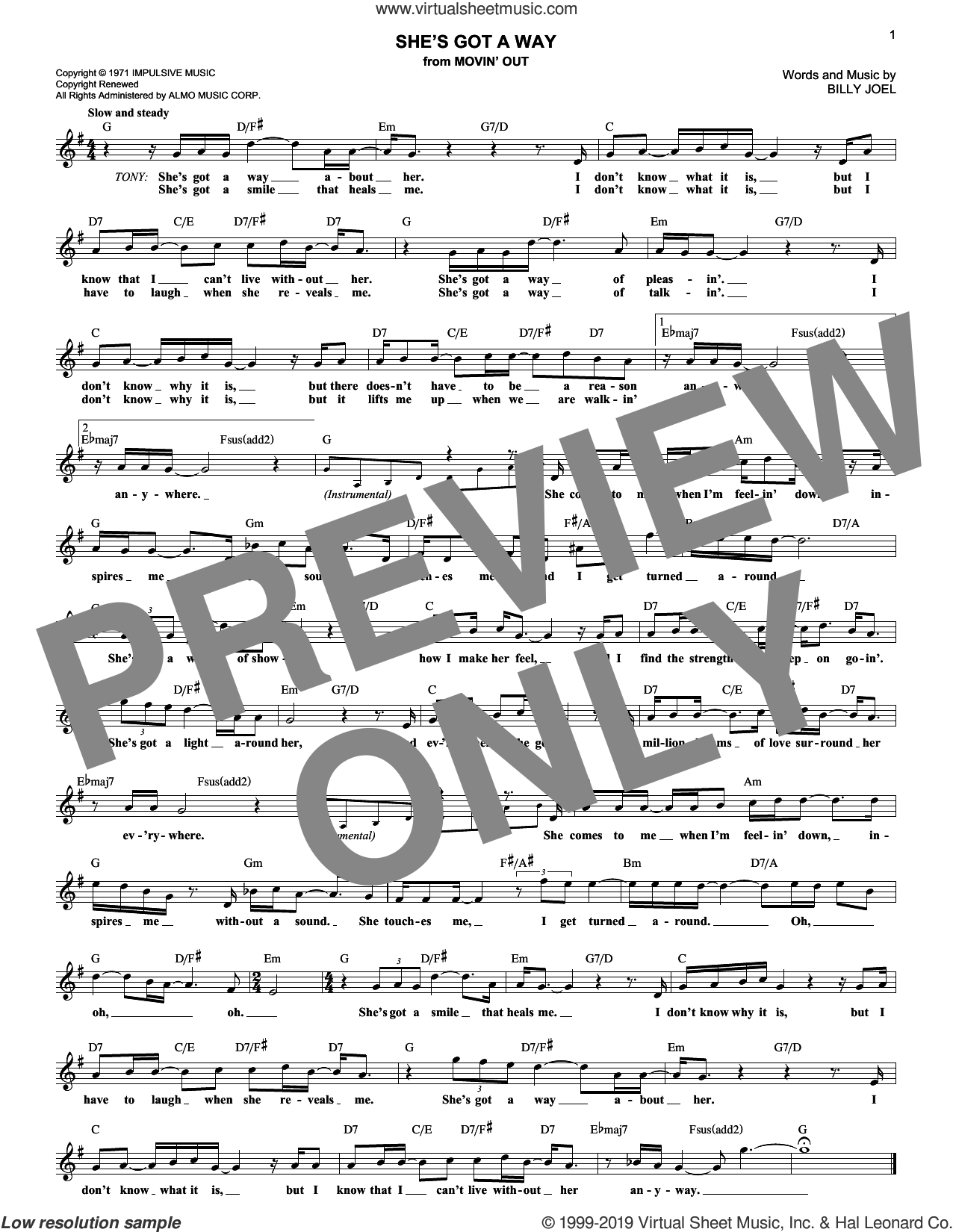 She's Got A Way sheet music for voice and other instruments (fake book) by Billy Joel, intermediate skill level