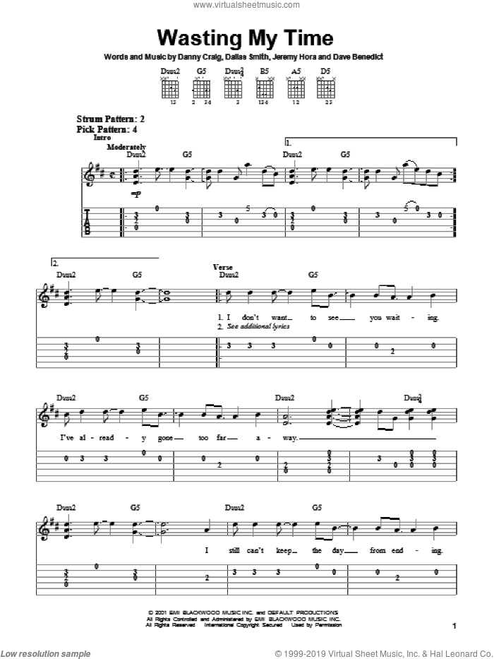Wasting My Time sheet music for guitar solo (chords) by Default, Dallas Smith, Danny Craig and Jeremy Hora, easy guitar (chords)