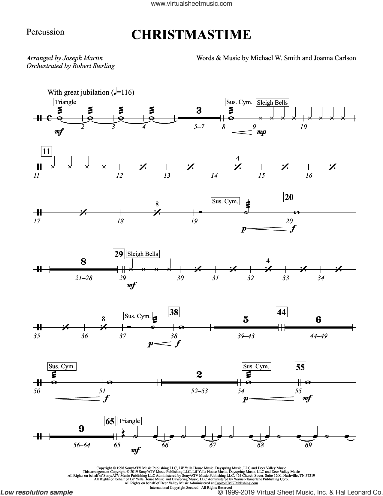 Christmastime (arr. Joseph M. Martin) sheet music for orchestra/band (percussion) by Michael W. Smith, Joseph M. Martin, Joanna Carlson and Michael W. Smith & Joanna Carlson, intermediate skill level
