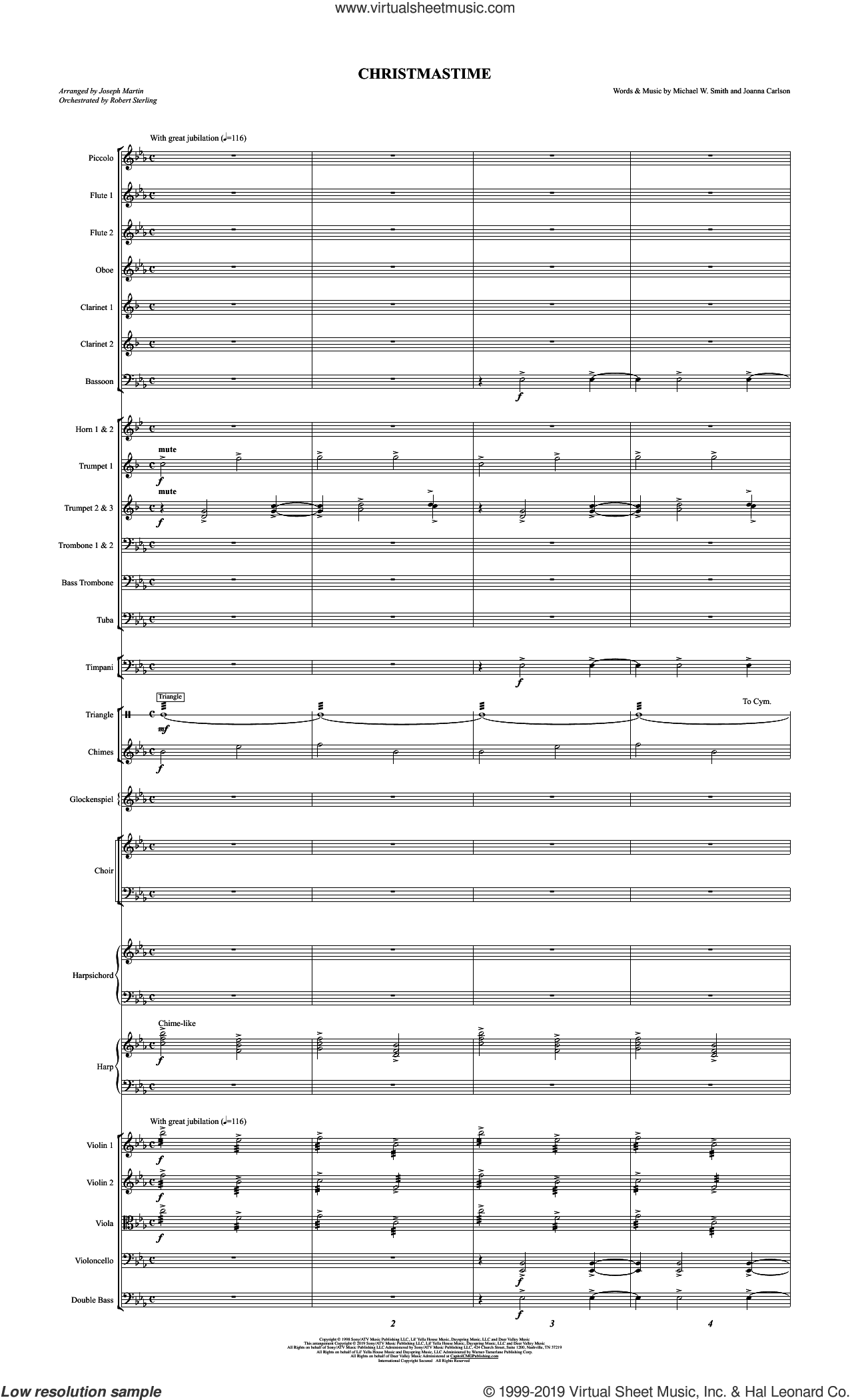 Christmastime (arr. Joseph M. Martin) (COMPLETE) sheet music for orchestra/band by Michael W. Smith & Joanna Carlson, Joanna Carlson, Joseph M. Martin and Michael W. Smith, intermediate skill level