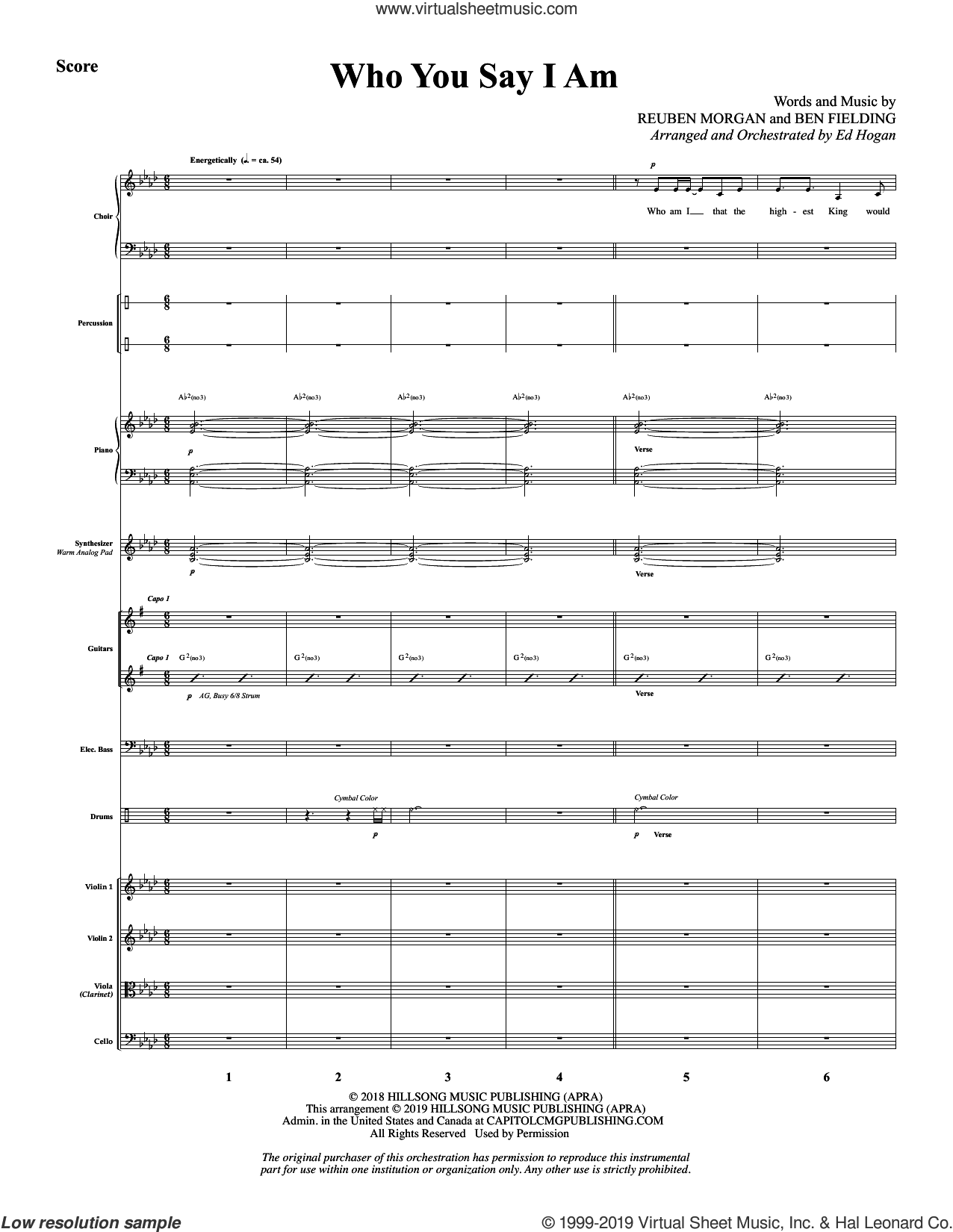 Who You Say I Am (arr. Ed Hogan) (COMPLETE) sheet music for orchestra/band by Hillsong Worship, Ben Fielding, Ed Hogan and Reuben Morgan, intermediate skill level