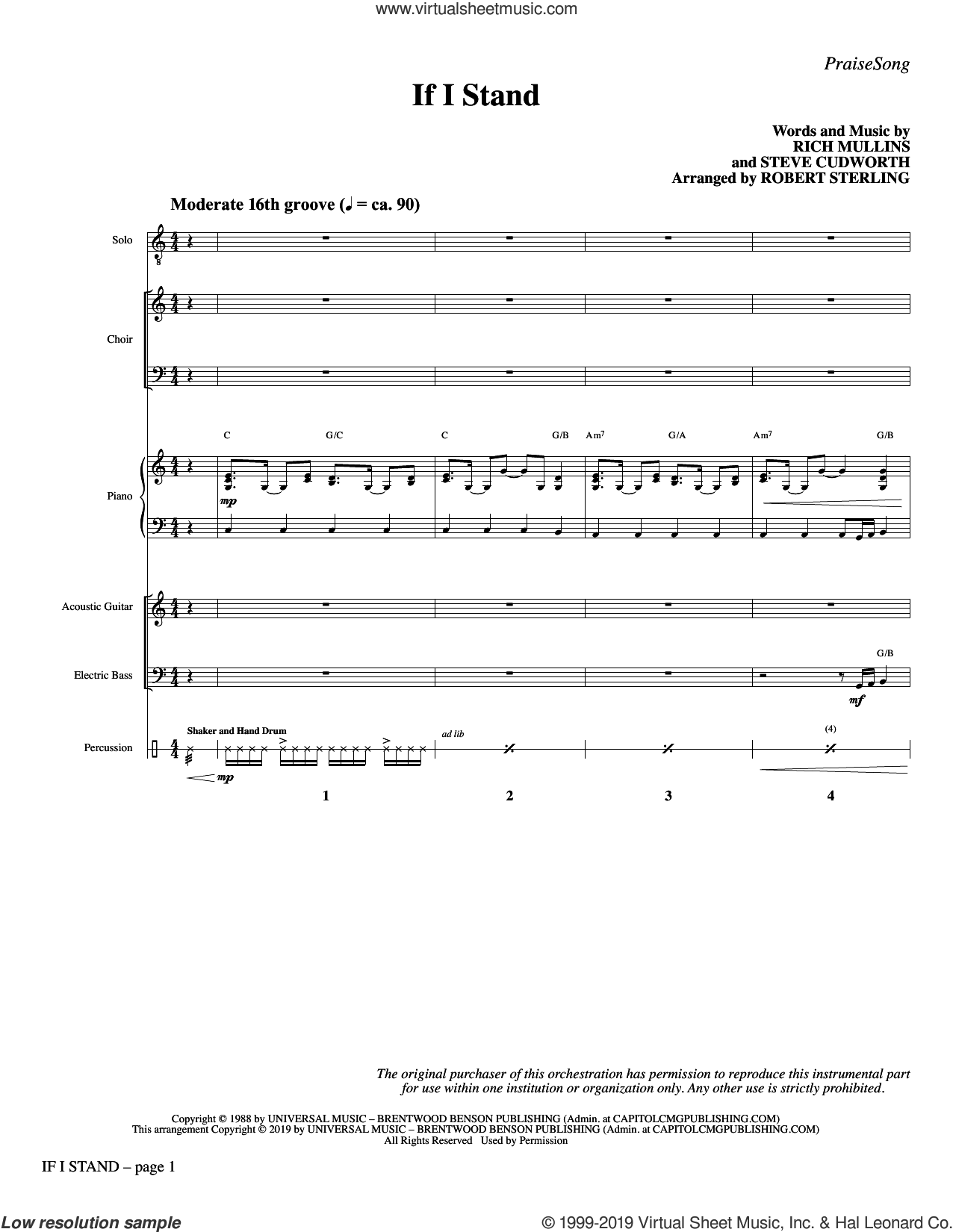 If I Stand (arr. Robert Sterling) (COMPLETE) sheet music for orchestra/band by Rich Mullins & Steve Cudworth, Rich Mullins, Robert Sterling and Steve Cudworth, intermediate skill level