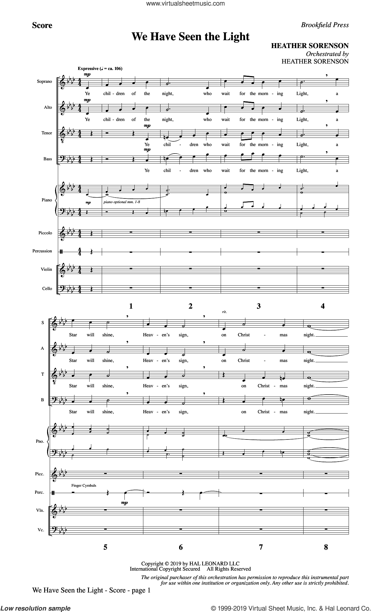 We Have Seen the Light (COMPLETE) sheet music for orchestra/band by Heather Sorenson, intermediate skill level