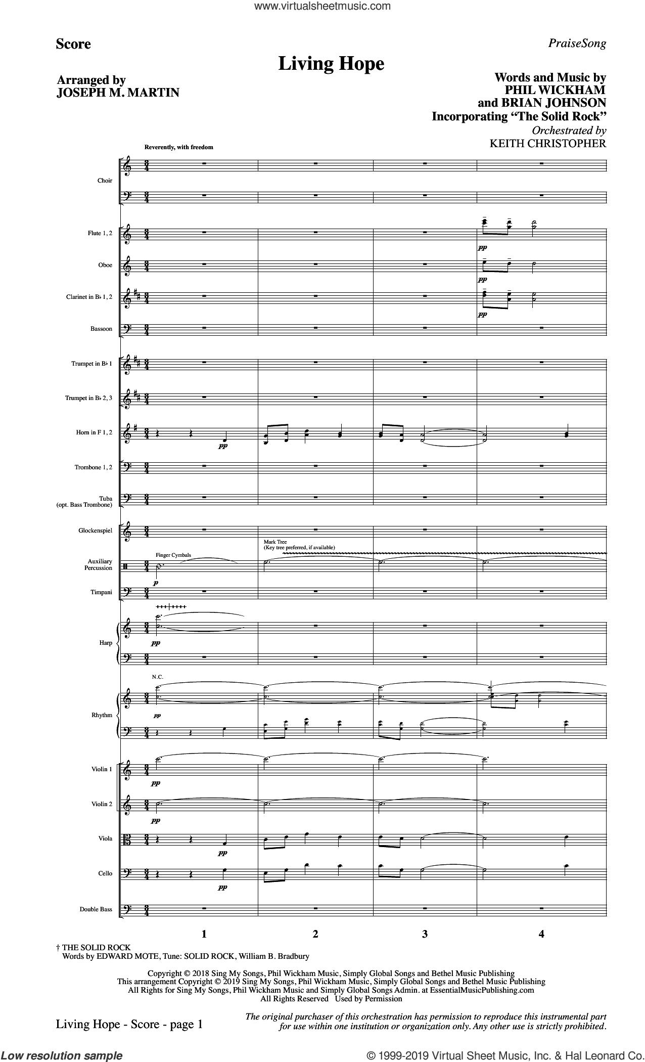 Living Hope (arr. Joseph M. Martin) (COMPLETE) sheet music for orchestra/band by Joseph M. Martin, Brian Johnson and Phil Wickham, intermediate skill level