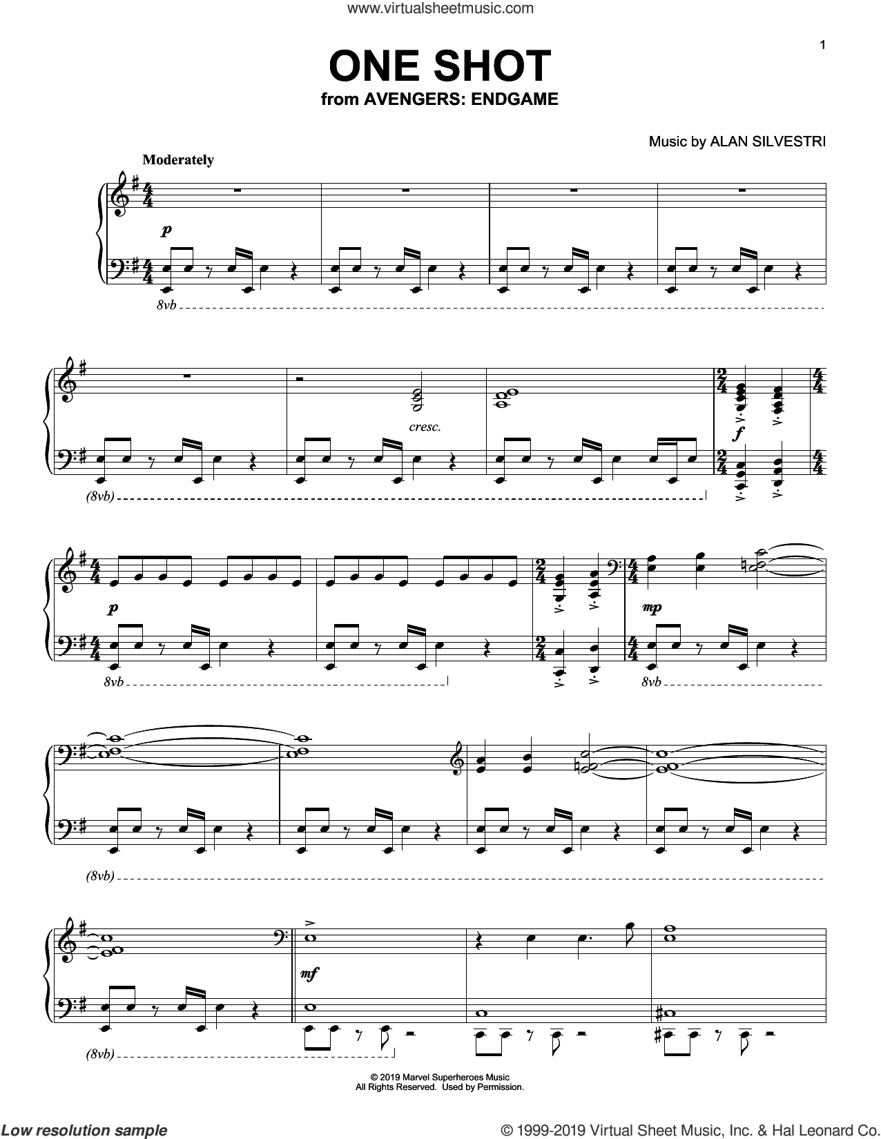 One Shot (from Avengers: Endgame) sheet music for piano solo by Alan Silvestri, intermediate skill level