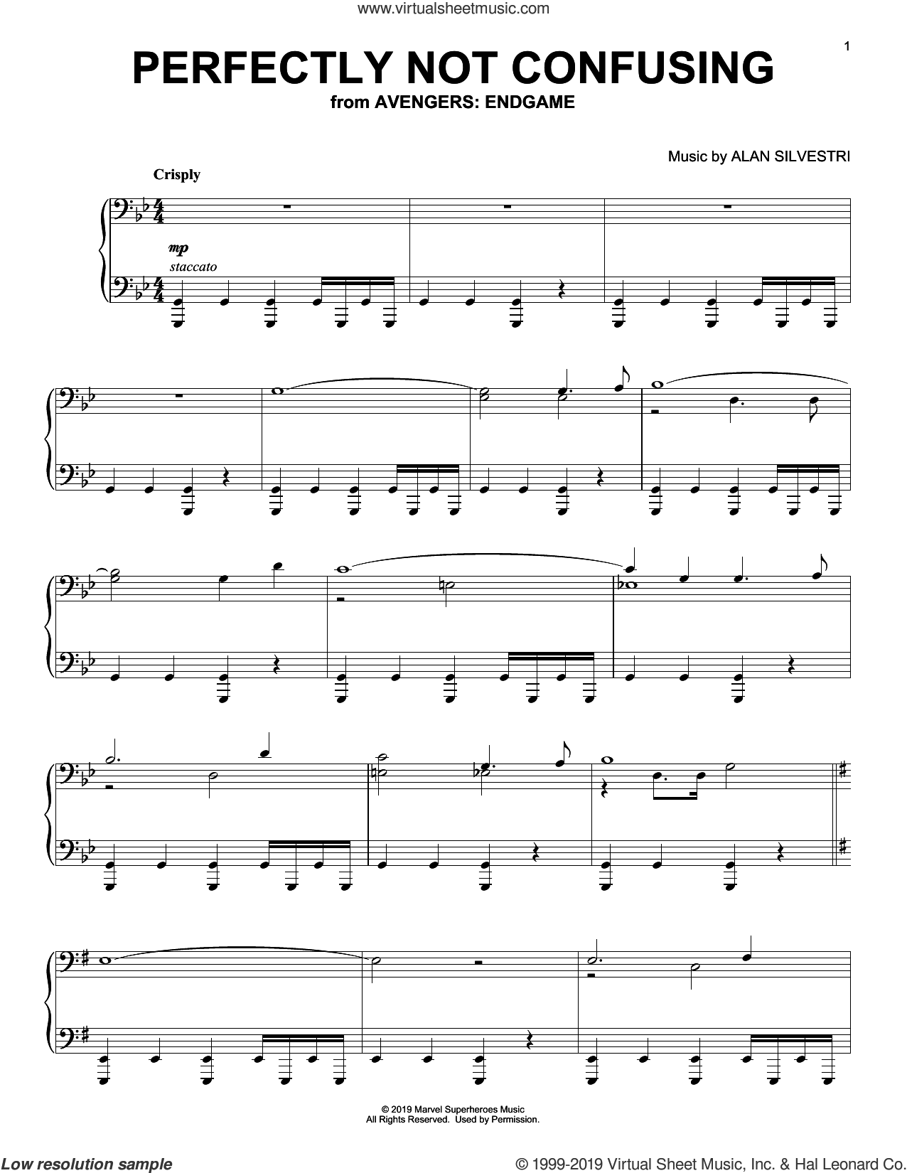 Perfectly Not Confusing (from Avengers: Endgame) sheet music for piano solo by Alan Silvestri, intermediate skill level