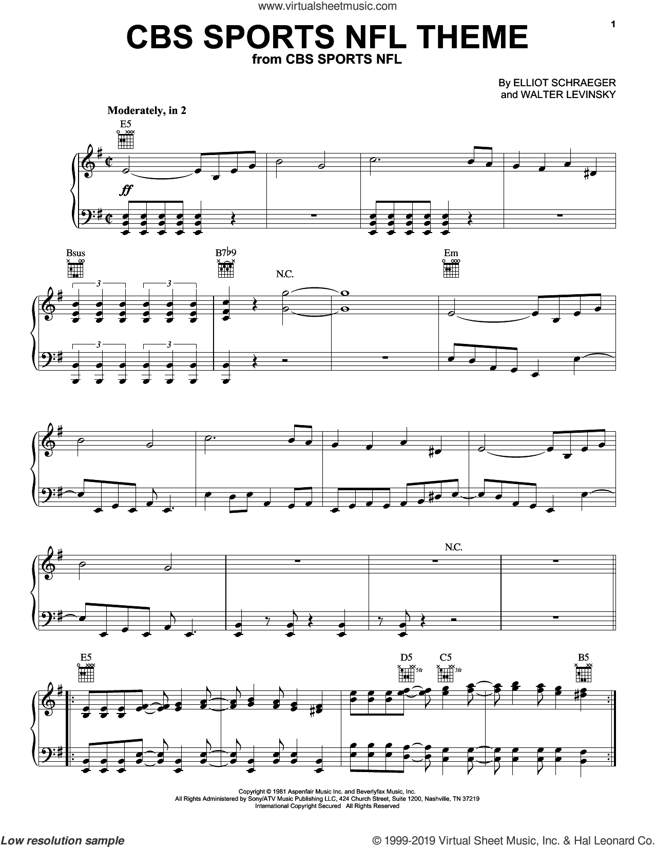 CBS Sports NFL Theme sheet music for piano solo by Walter Levinsky and Elliot Schraeger, intermediate skill level