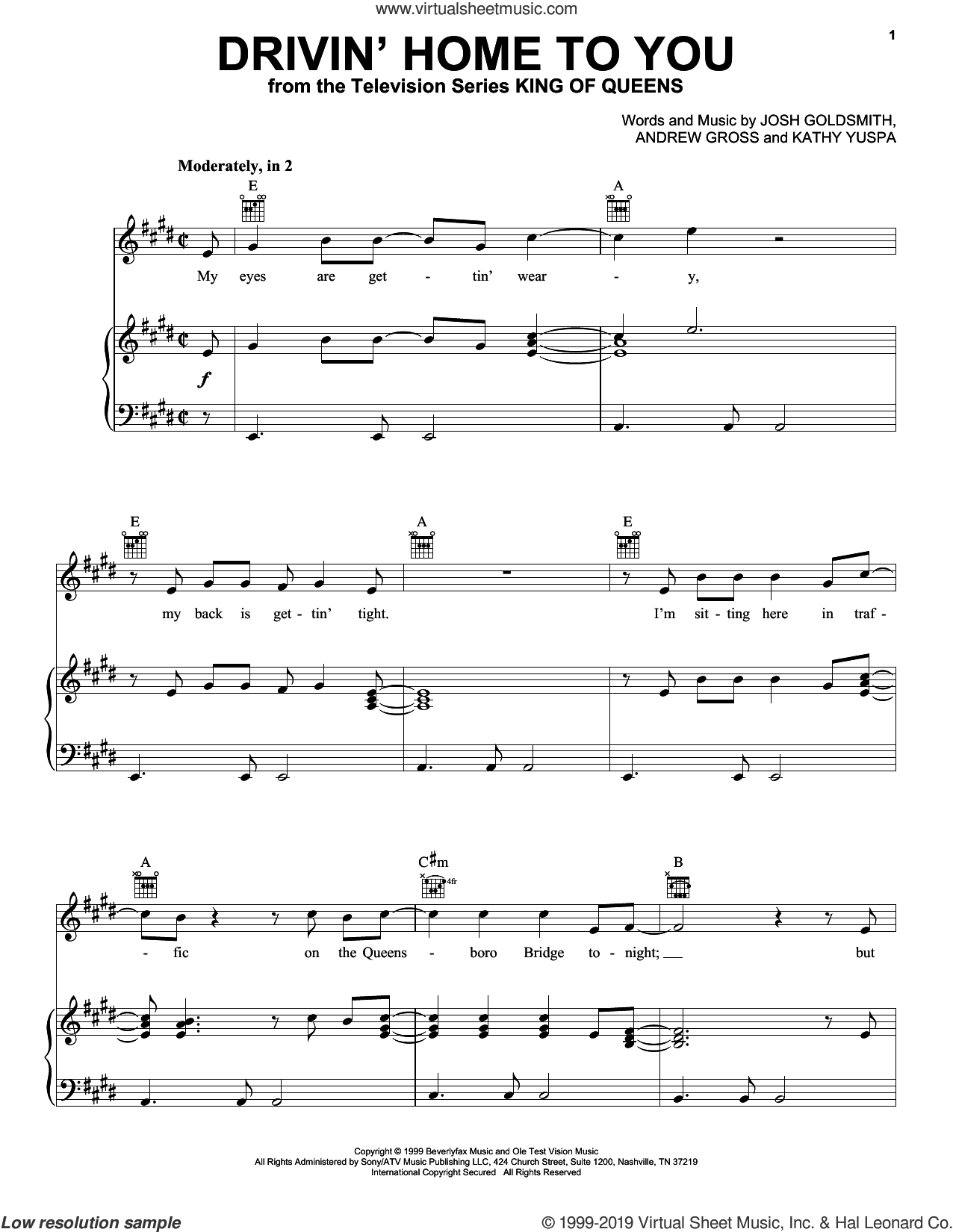 Drivin' Home To You (from King of Queens) sheet music for voice, piano or guitar by Billy Vera, Andrew Gross, Josh Goldsmith and Kathy Yuspa, intermediate skill level