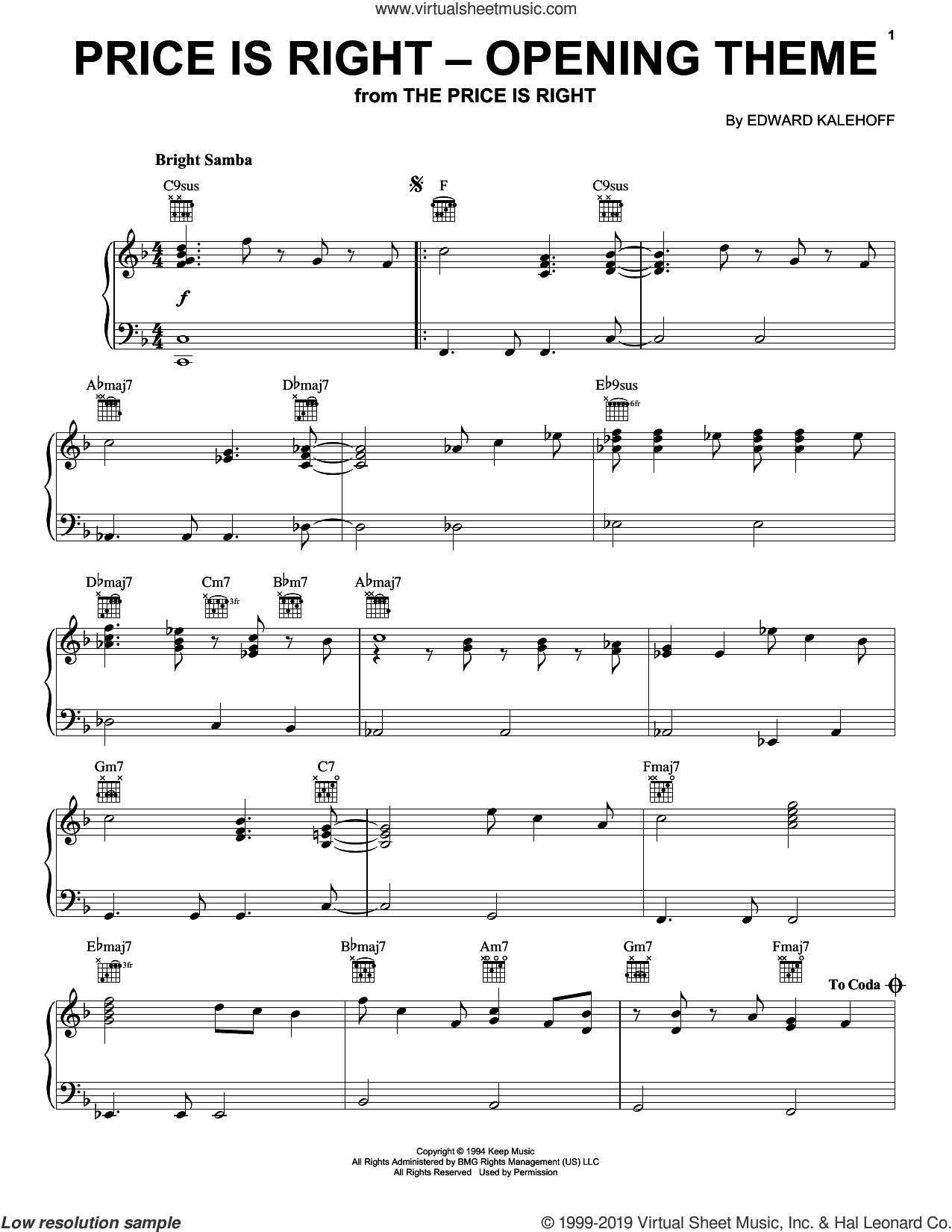 Price Is Right (Opening Theme) sheet music for piano solo by Edward Kalehoff, intermediate skill level