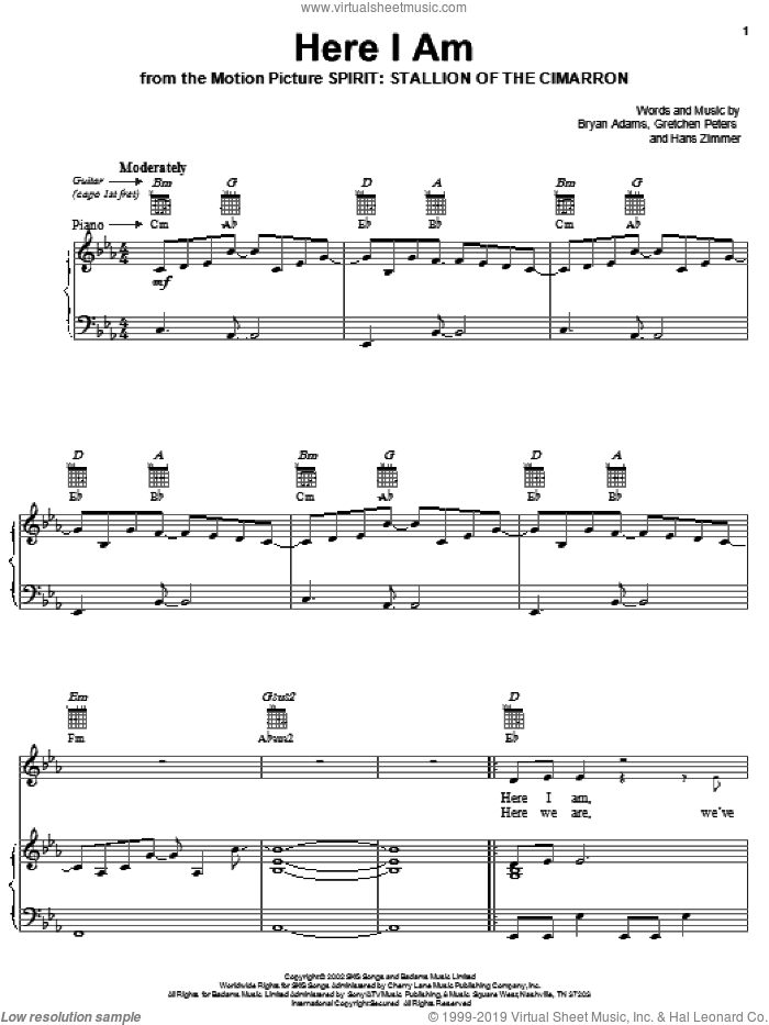 Here I Am (End Title) sheet music for voice, piano or guitar by Hans Zimmer, Bryan Adams and Gretchen Peters. Score Image Preview.