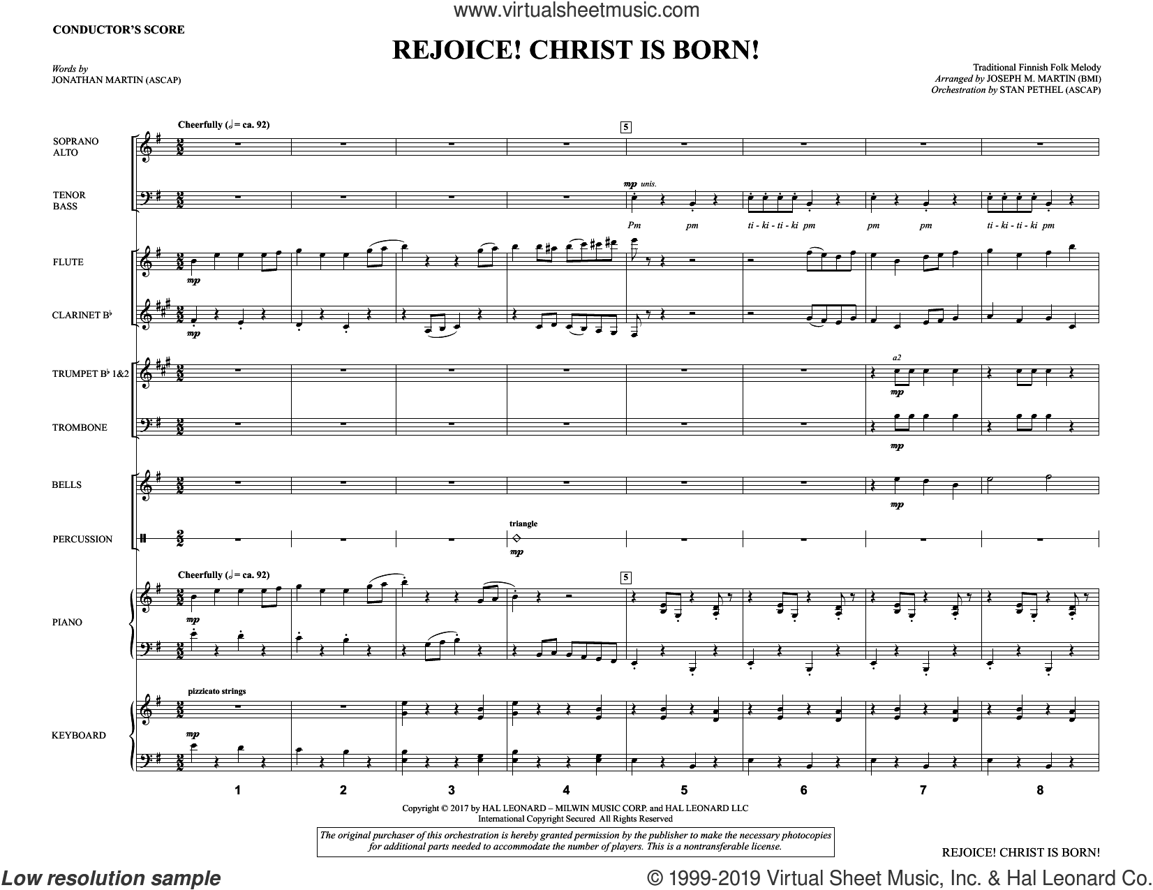 Rejoice! Christ Is Born! (COMPLETE) sheet music for orchestra/band by Joseph M. Martin, Jonathan Martin and Traditional Finnish Folk Melod, intermediate skill level