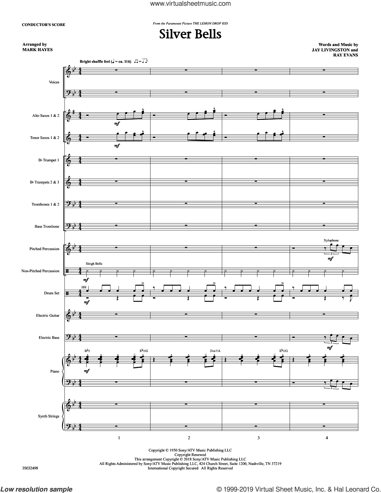 Silver Bells (arr. Mark Hayes) (COMPLETE) sheet music for orchestra/band by Mark Hayes, Jay Livingston, Jay Livingston & Ray Evans and Ray Evans, intermediate skill level