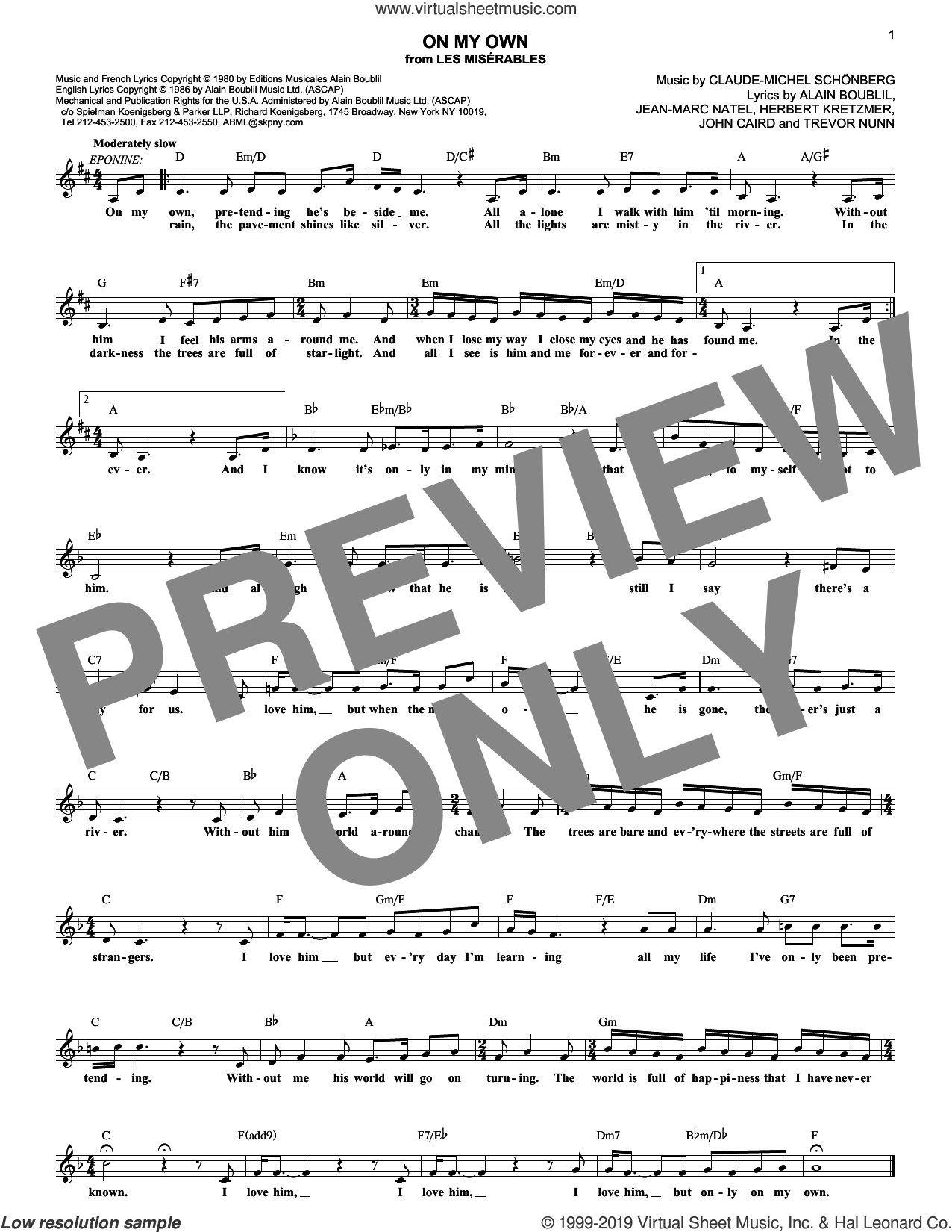 On My Own (from Les Miserables) sheet music for voice and other instruments (fake book) by Boublil and Schonberg, Alain Boublil, Claude-Michel Schonberg, Herbert Kretzmer, Jean-Marc Natel, John Caird and Trevor Nunn, intermediate skill level