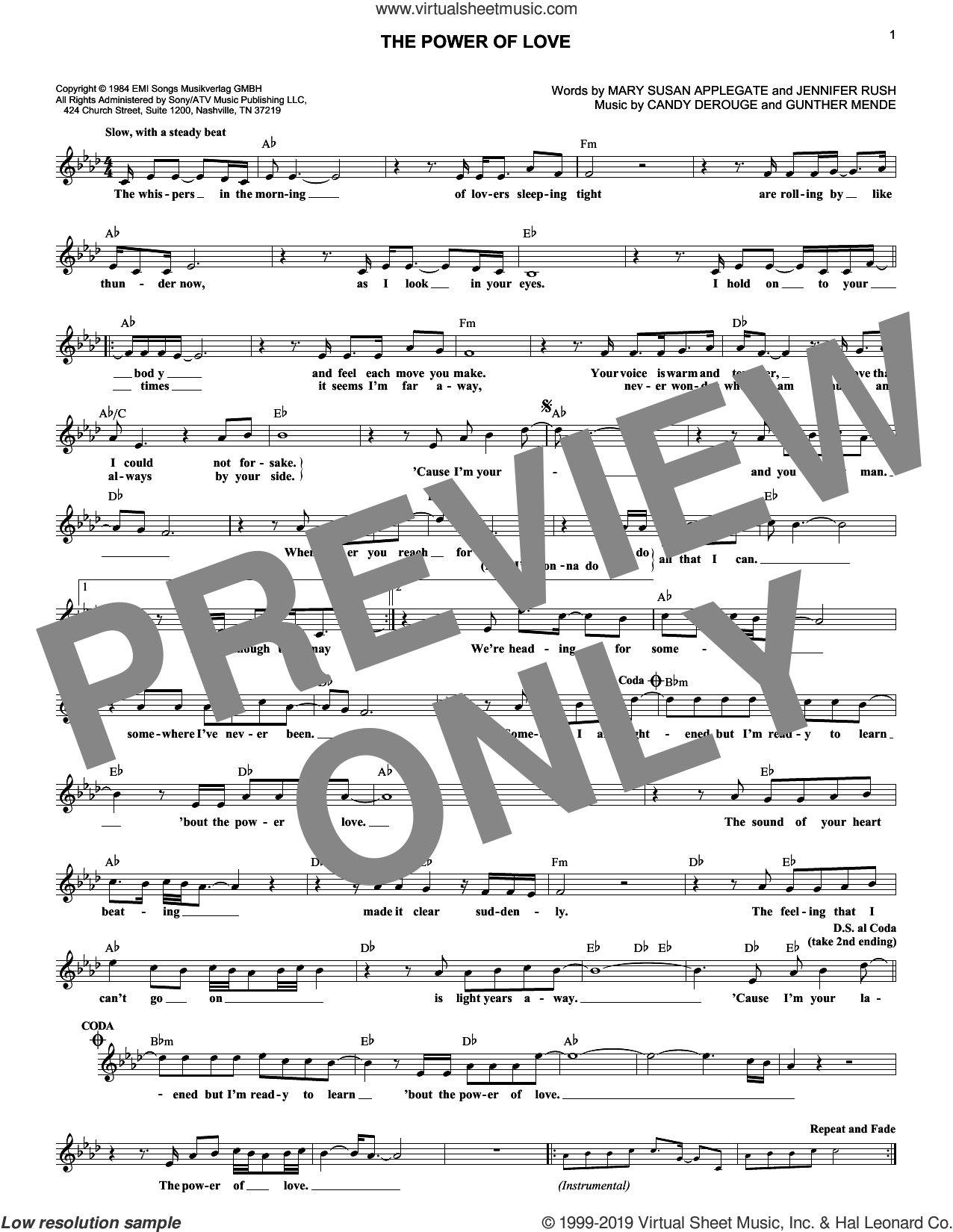 The Power Of Love sheet music for voice and other instruments (fake book) by Air Supply, Candy Derouge, Gunther Mende, Jennifer Rush and Mary Susan Applegate, intermediate skill level