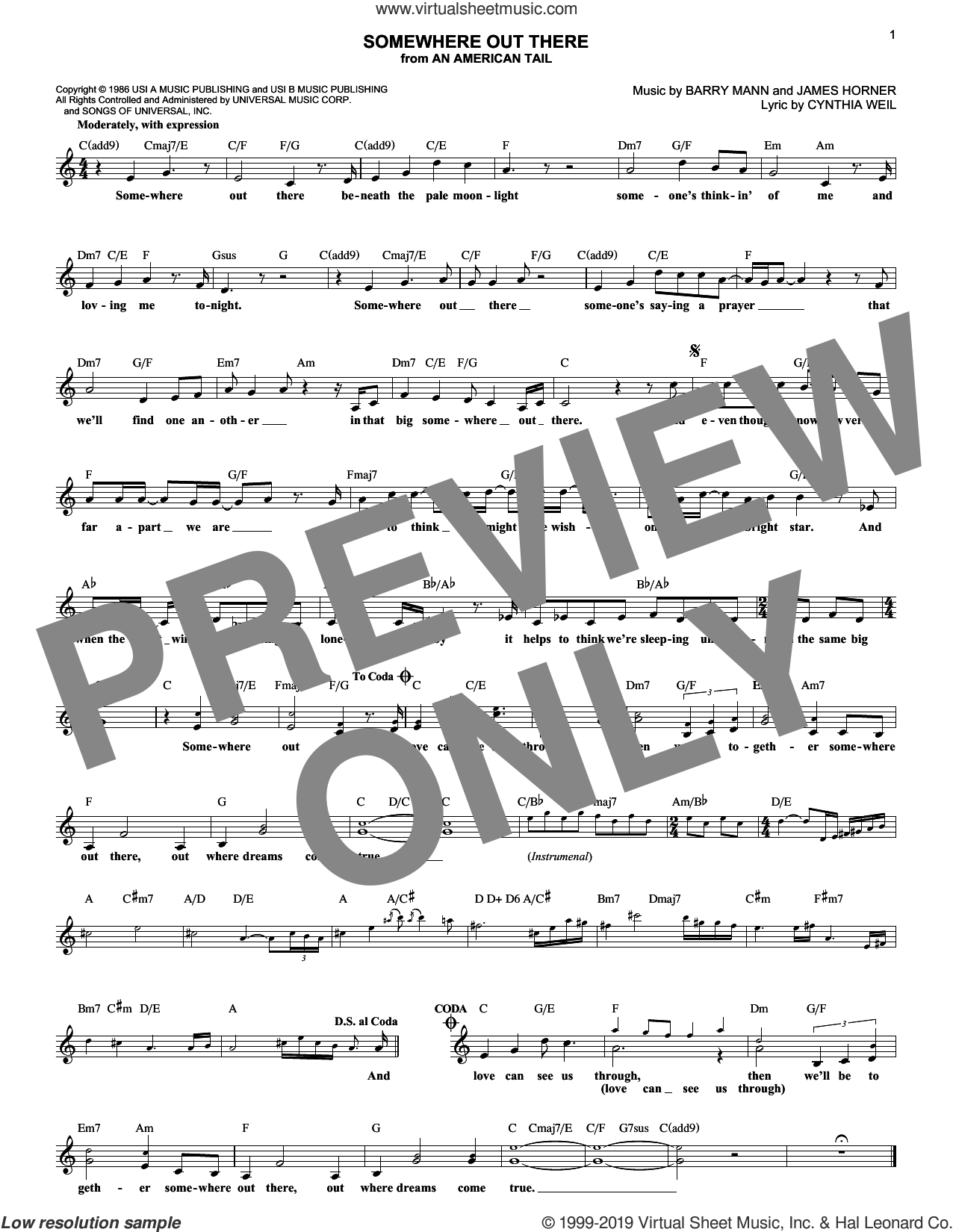 Somewhere Out There sheet music for voice and other instruments (fake book) by Linda Ronstadt & James Ingram, Barry Mann, Cynthia Weil and James Horner, intermediate skill level
