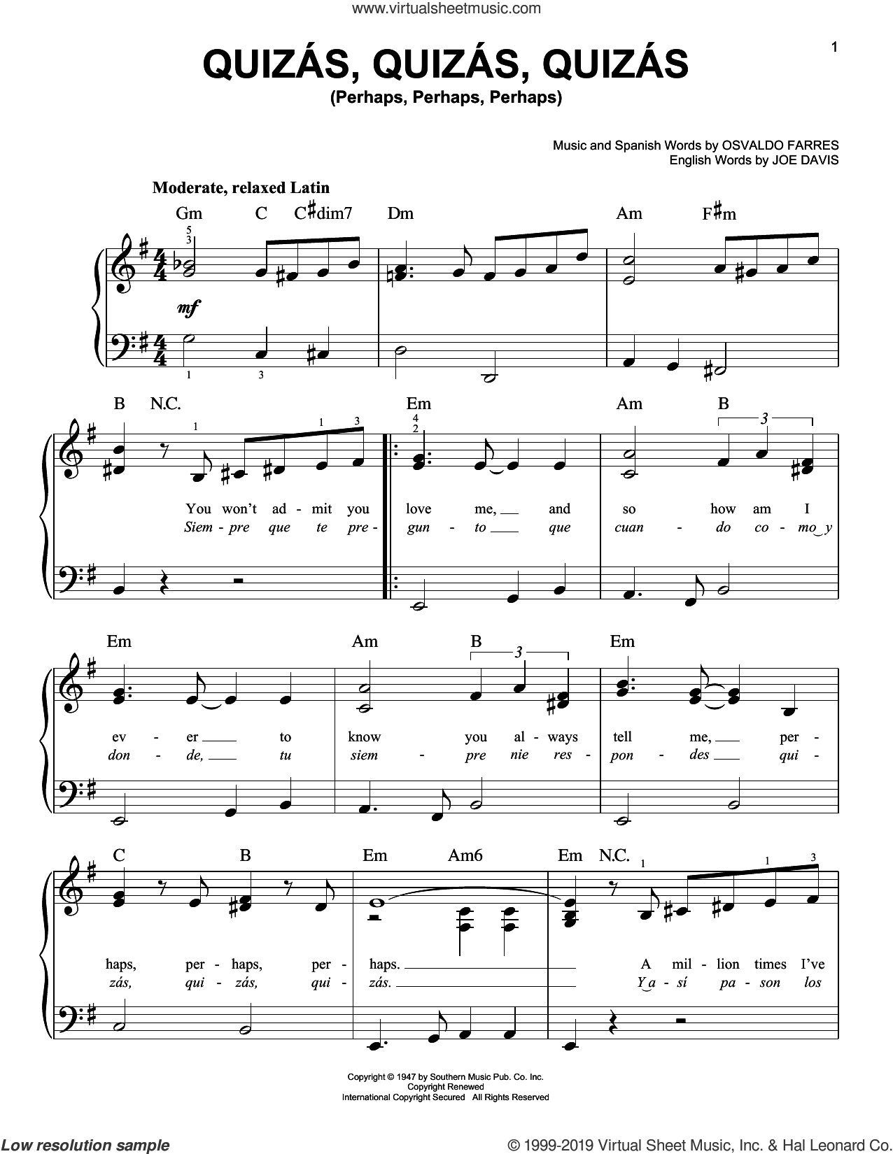 Quizas, Quizas, Quizas (Perhaps, Perhaps, Perhaps) sheet music for piano solo by Joe Davis and Osvaldo Farres, beginner skill level