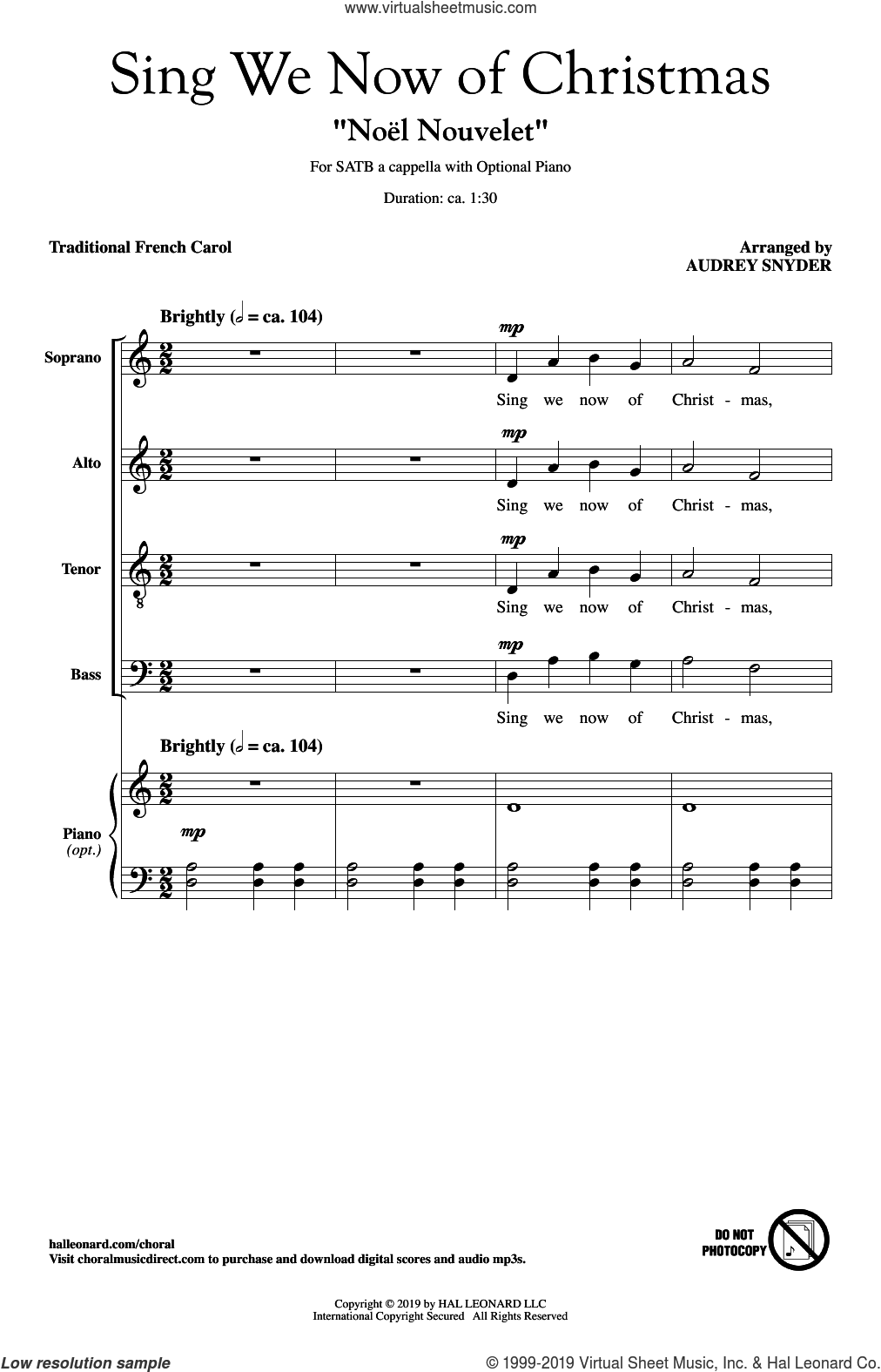 Sing We Now Of Christmas ('Noel Nouvelet') (arr. Audrey Snyder) sheet music for choir (SATB: soprano, alto, tenor, bass)  and Audrey Snyder, intermediate skill level