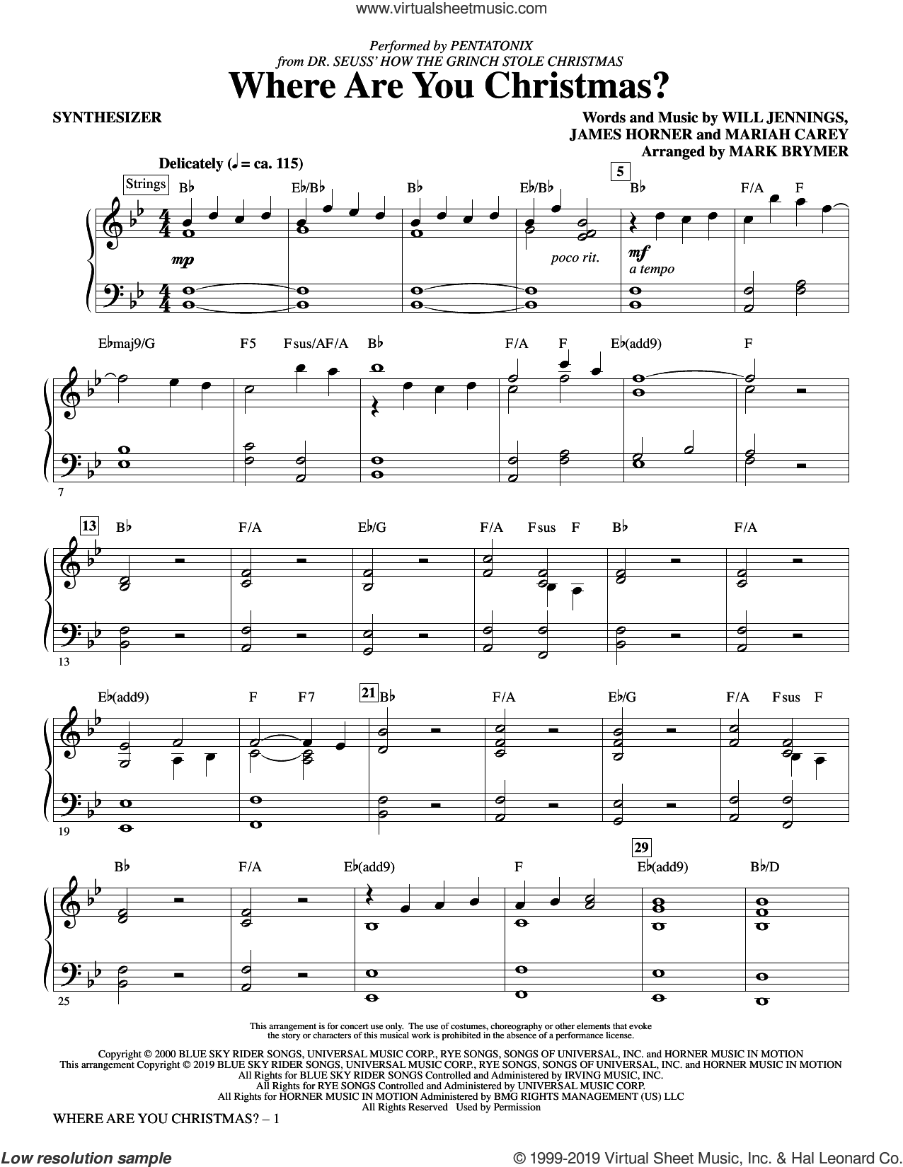Where Are You Christmas? (from How The Grinch Stole Christmas) (arr. Mark Brymer) (complete set of parts) sheet music for orchestra/band by Pentatonix, Faith Hill, James Horner, Mariah Carey, Mark Brymer and Will Jennings, intermediate skill level