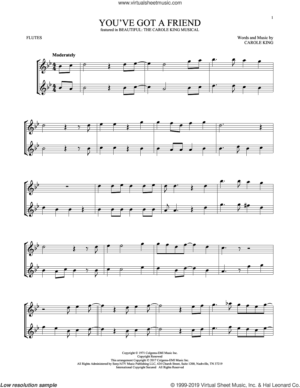 You've Got A Friend (from Beautiful: The Carole King Musical) sheet music for two flutes (duets) by Carole King, intermediate skill level