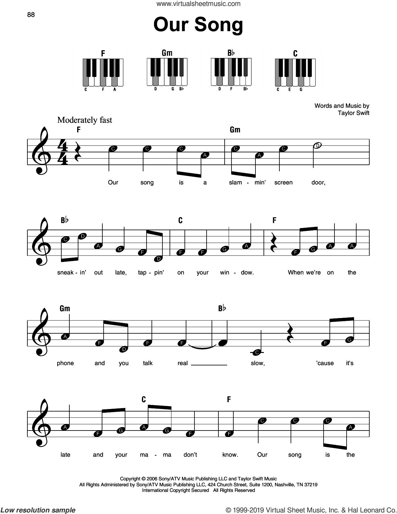 Our Song, (beginner) sheet music for piano solo by Taylor Swift, beginner skill level