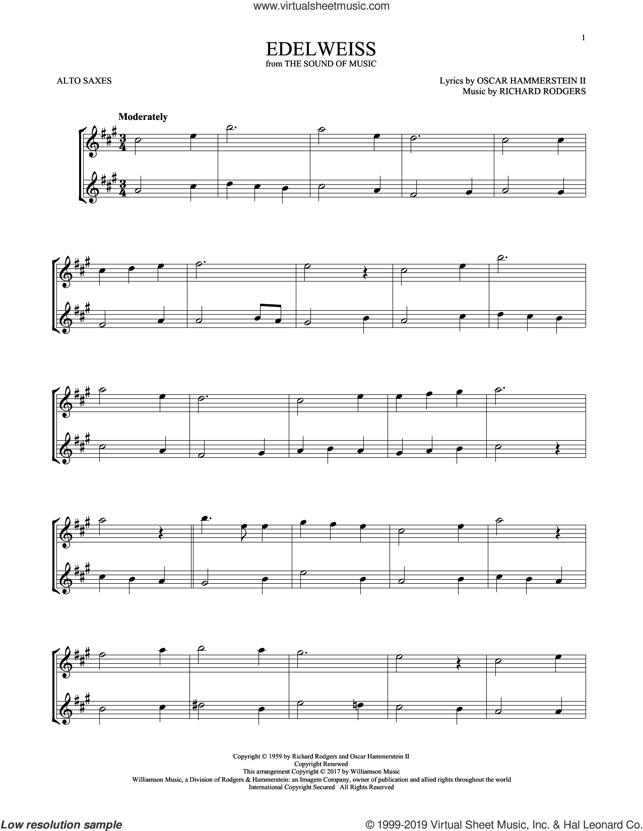 Edelweiss (from The Sound of Music) sheet music for two alto saxophones (duets) by Rodgers & Hammerstein, Oscar II Hammerstein and Richard Rodgers, intermediate skill level