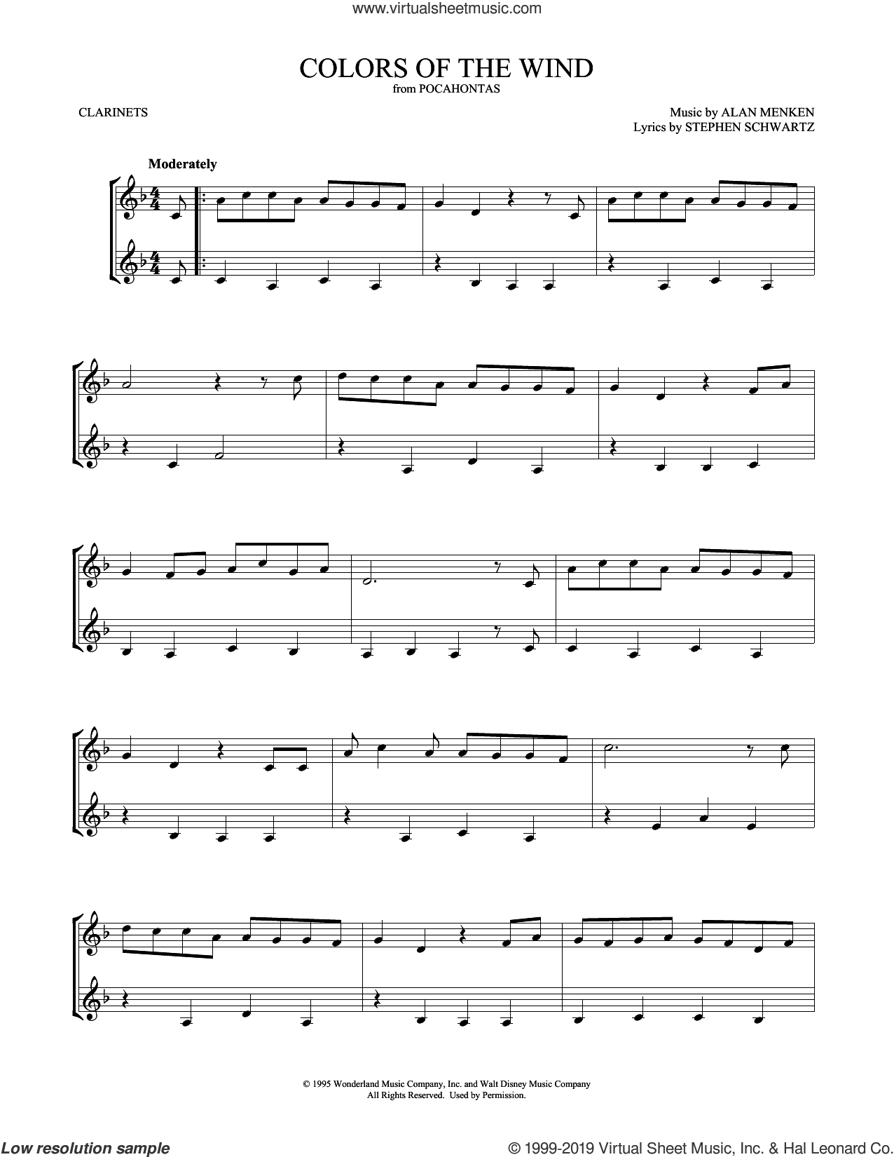 Colors Of The Wind sheet music for two clarinets (duets) by Vanessa Williams, Mark Phillips, Alan Menken and Stephen Schwartz, intermediate skill level