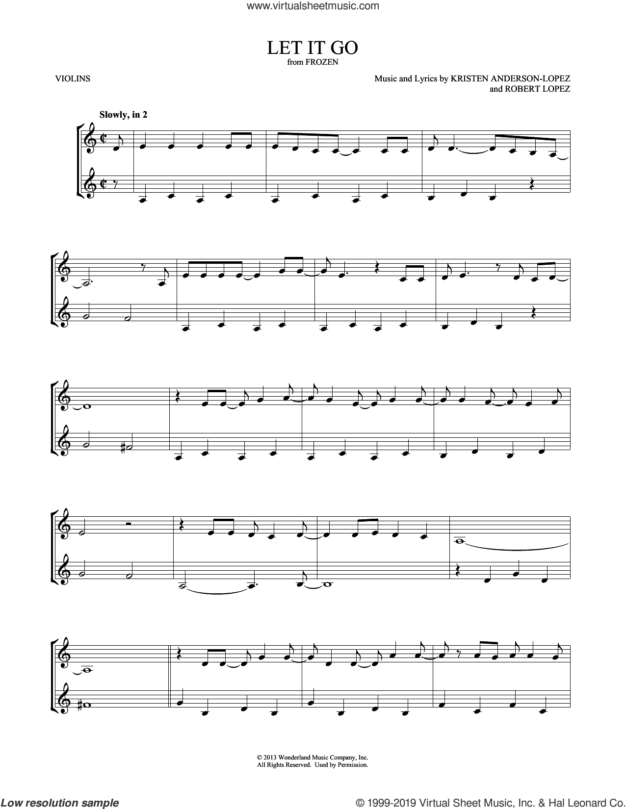 Let It Go (from Frozen) sheet music for two violins (duets, violin duets) by Idina Menzel, Mark Phillips, Kristen Anderson-Lopez and Robert Lopez, intermediate skill level