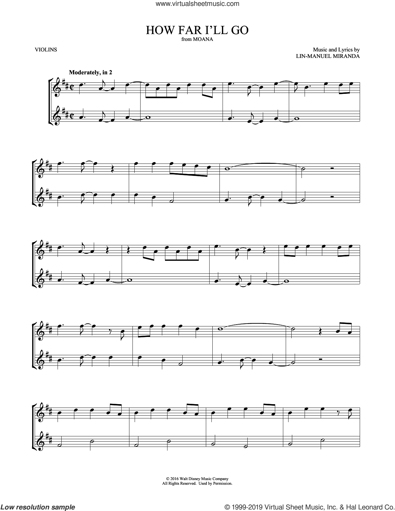 How Far I'll Go (from Moana) sheet music for two violins (duets, violin duets) by Lin-Manuel Miranda and Mark Phillips, intermediate skill level