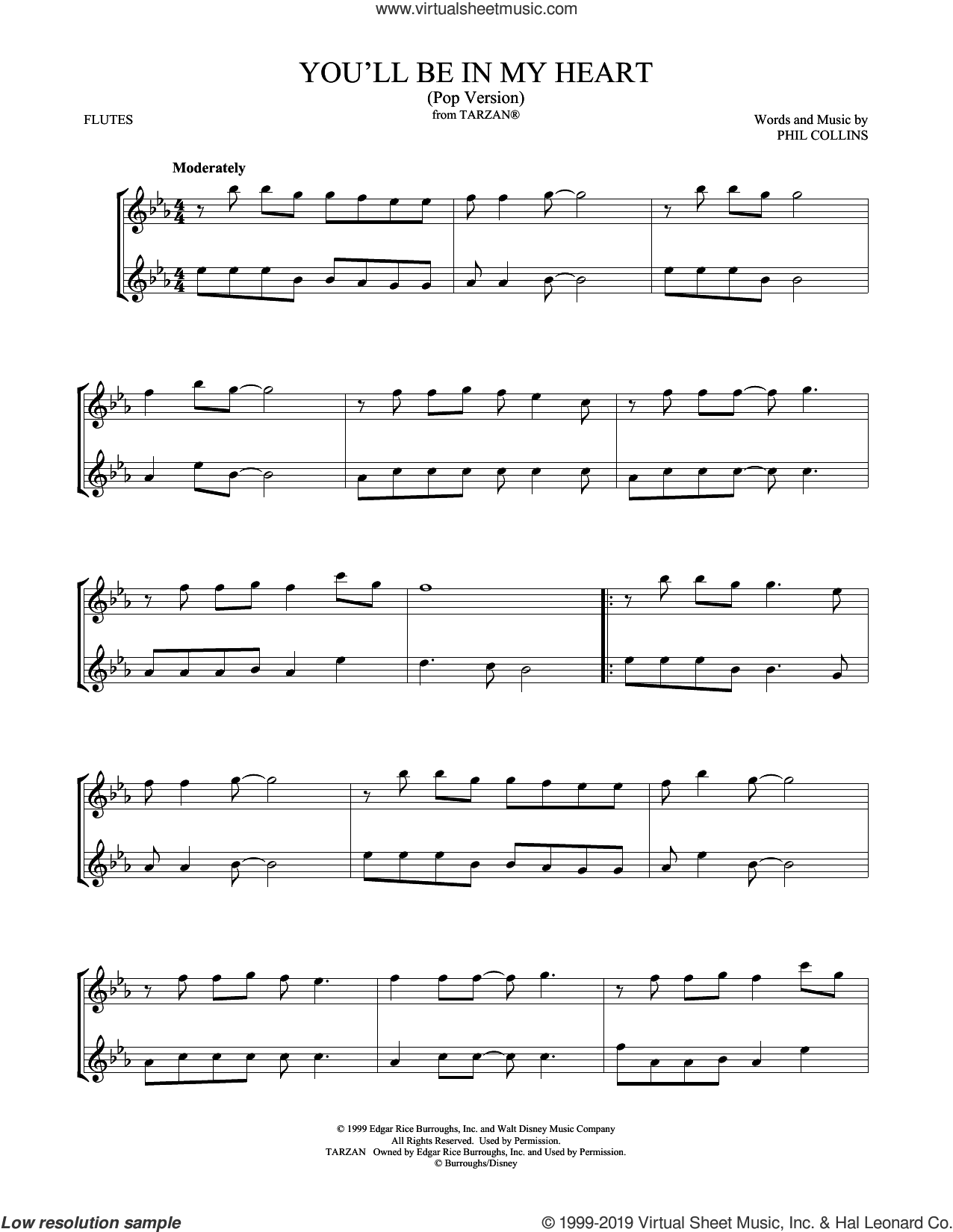 You'll Be In My Heart (Pop Version) sheet music for two flutes (duets) by Phil Collins and Mark Phillips, intermediate skill level