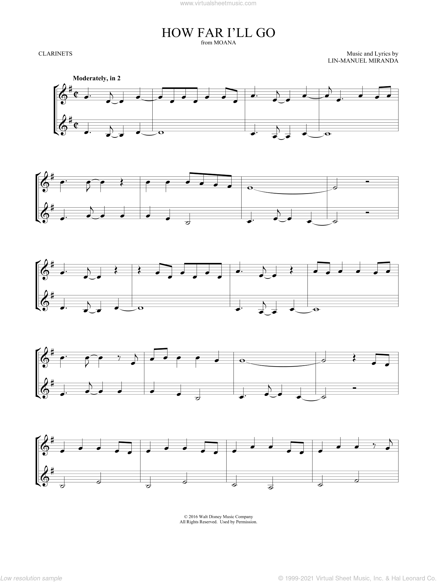 How Far I'll Go (from Moana) sheet music for two clarinets (duets) by Lin-Manuel Miranda and Mark Phillips, intermediate skill level