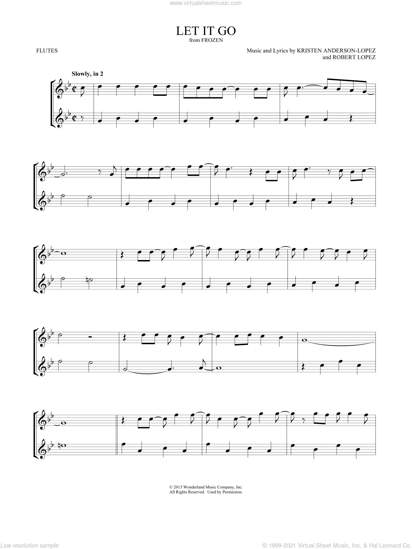 Let It Go (from Frozen) sheet music for two flutes (duets) by Idina Menzel, Mark Phillips, Kristen Anderson-Lopez and Robert Lopez, intermediate skill level