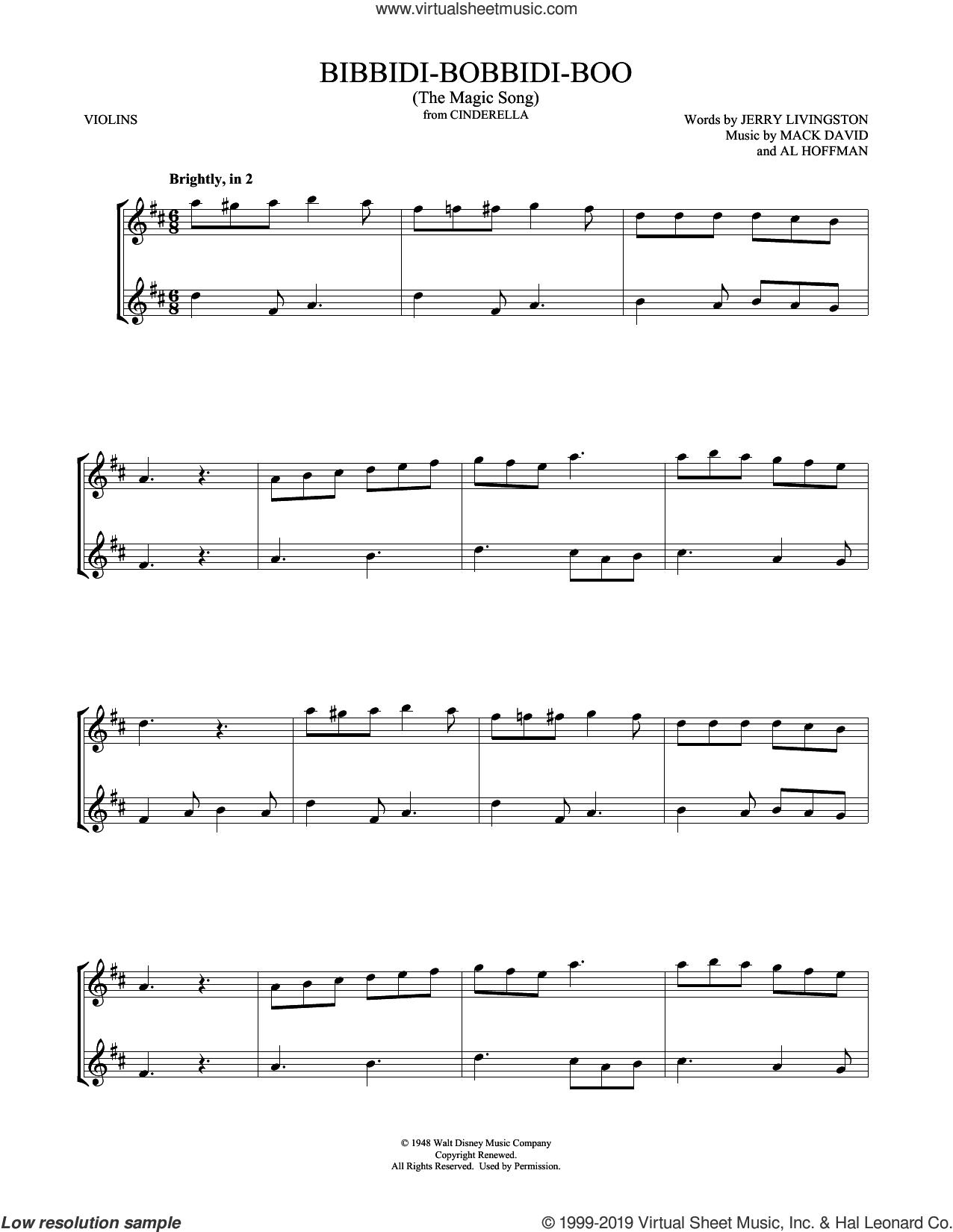 Bibbidi-Bobbidi-Boo (The Magic Song) (from Cinderella) sheet music for two violins (duets, violin duets) by Verna Felton, Mark Phillips, Al Hoffman, Jerry Livingston and Mack David, intermediate skill level