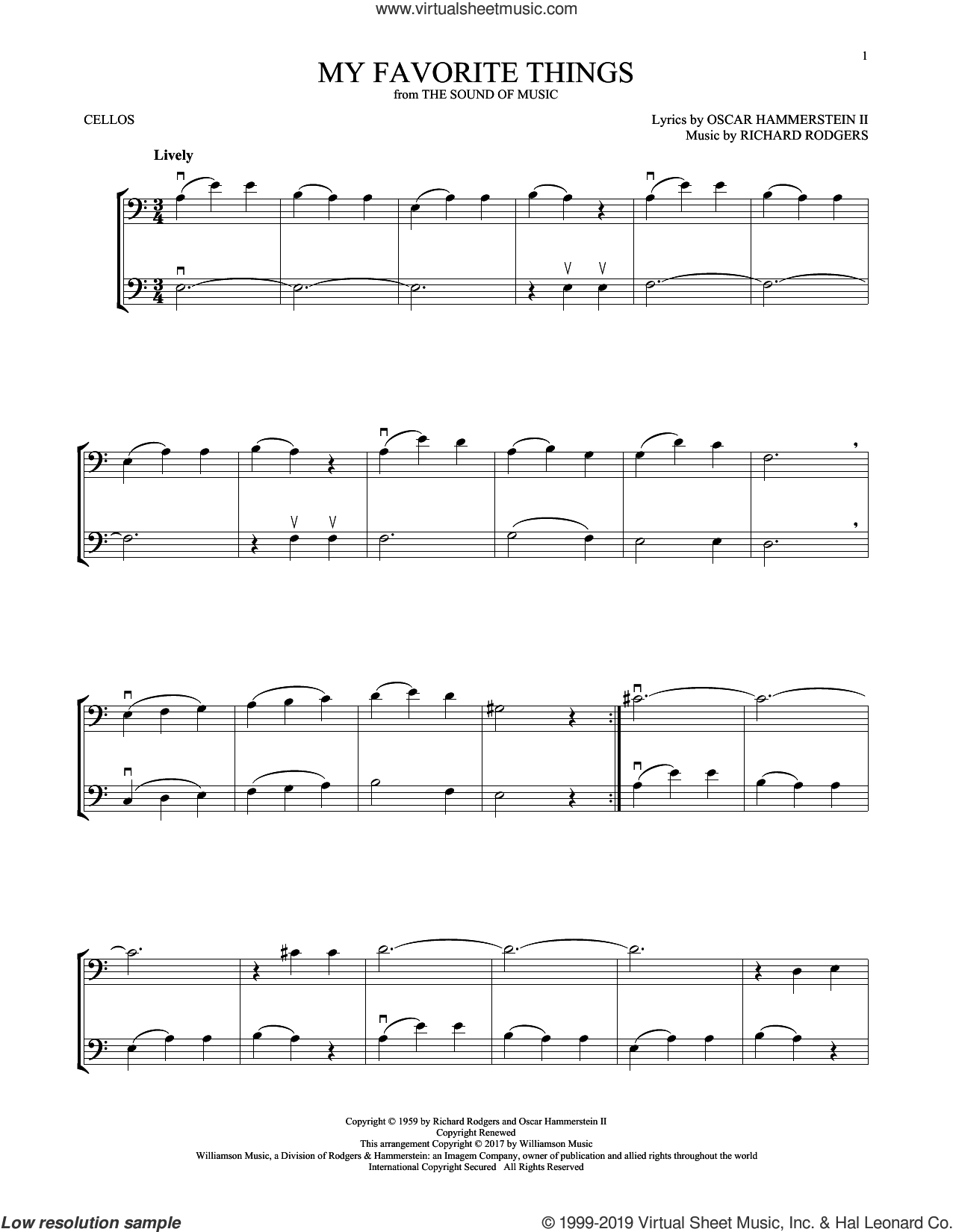 My Favorite Things (from The Sound Of Music) sheet music for two cellos (duet, duets) by Rodgers & Hammerstein, Oscar II Hammerstein and Richard Rodgers, intermediate skill level
