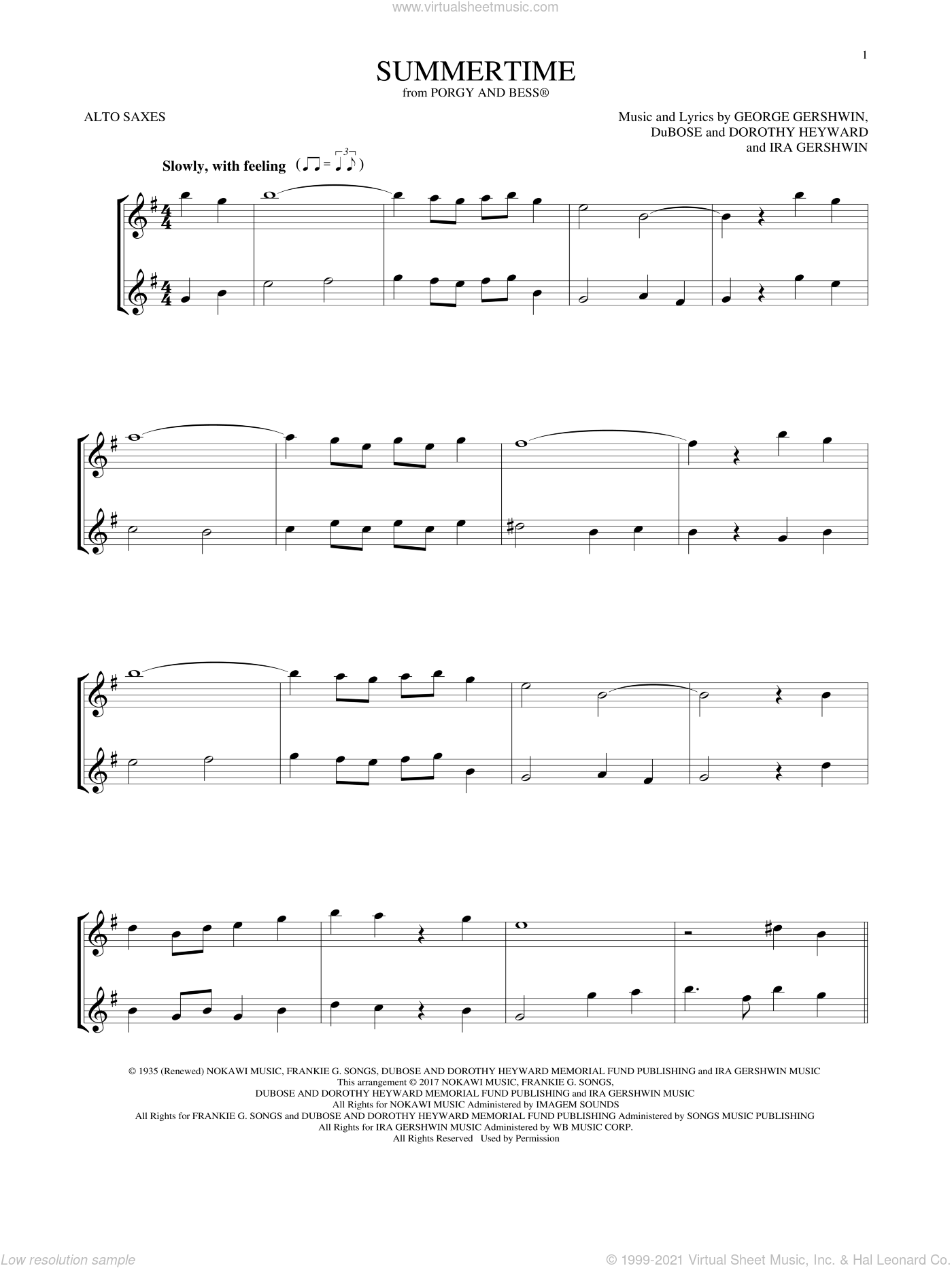 Summertime (from Porgy and Bess) sheet music for two alto saxophones (duets) by George Gershwin, Dorothy Heyward, DuBose Heyward and Ira Gershwin, intermediate skill level
