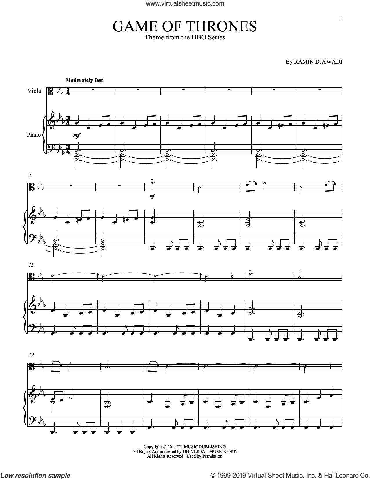 Game Of Thrones sheet music for viola and piano by Ramin Djawadi, intermediate skill level