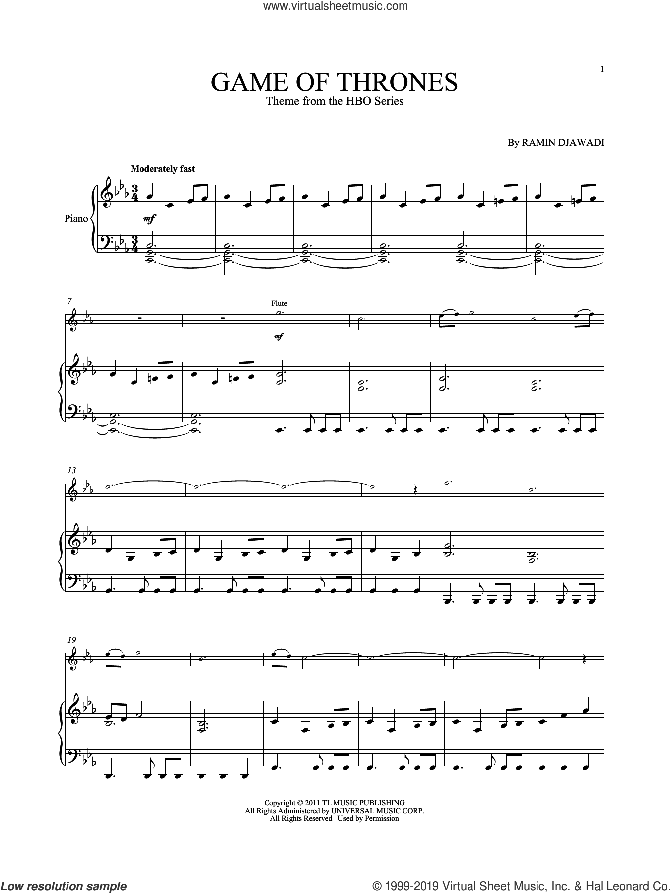 Game Of Thrones sheet music for flute and piano by Ramin Djawadi, intermediate skill level