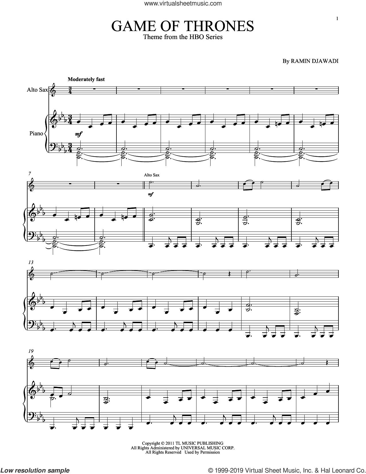 Game Of Thrones sheet music for alto saxophone and piano by Ramin Djawadi, intermediate skill level