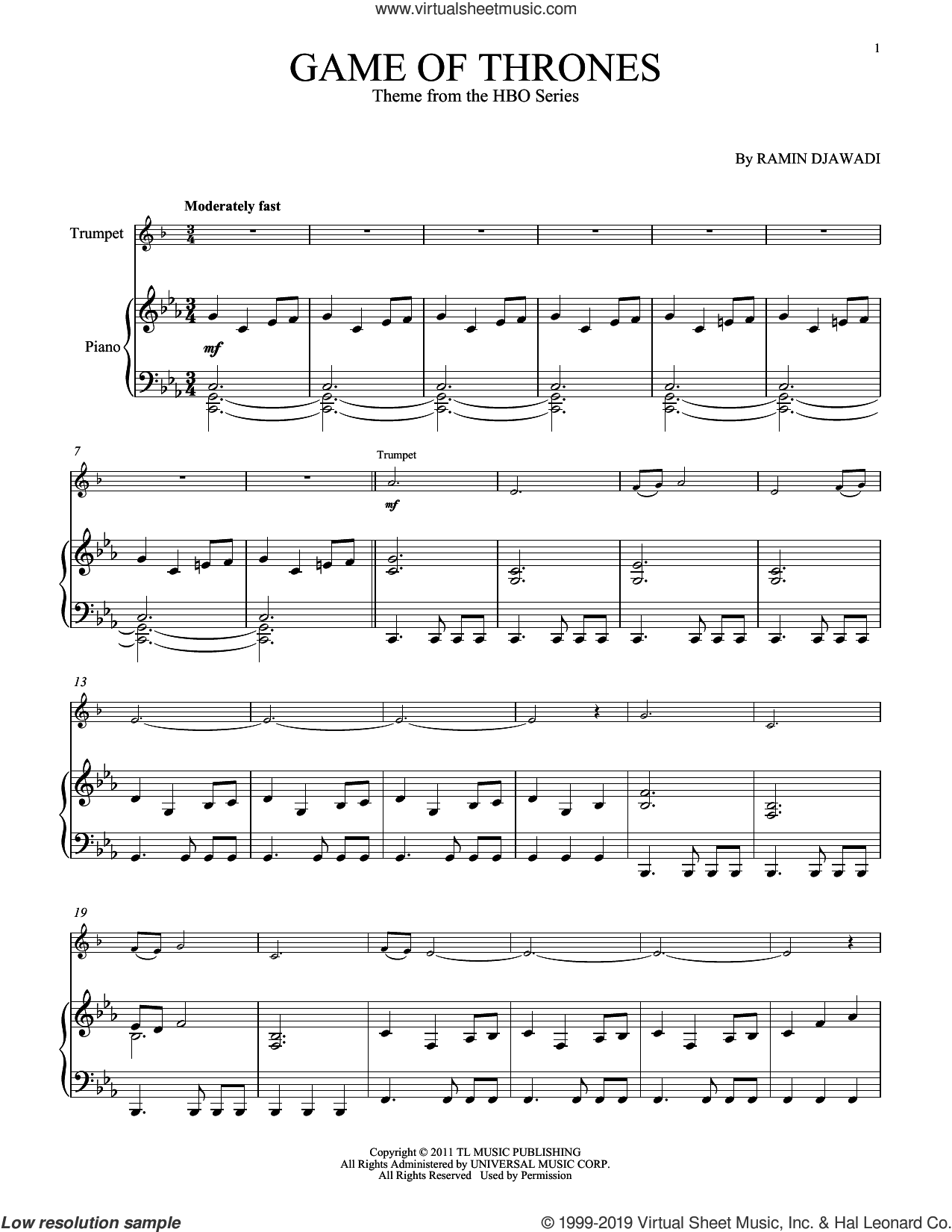 Game Of Thrones sheet music for trumpet and piano by Ramin Djawadi, intermediate skill level
