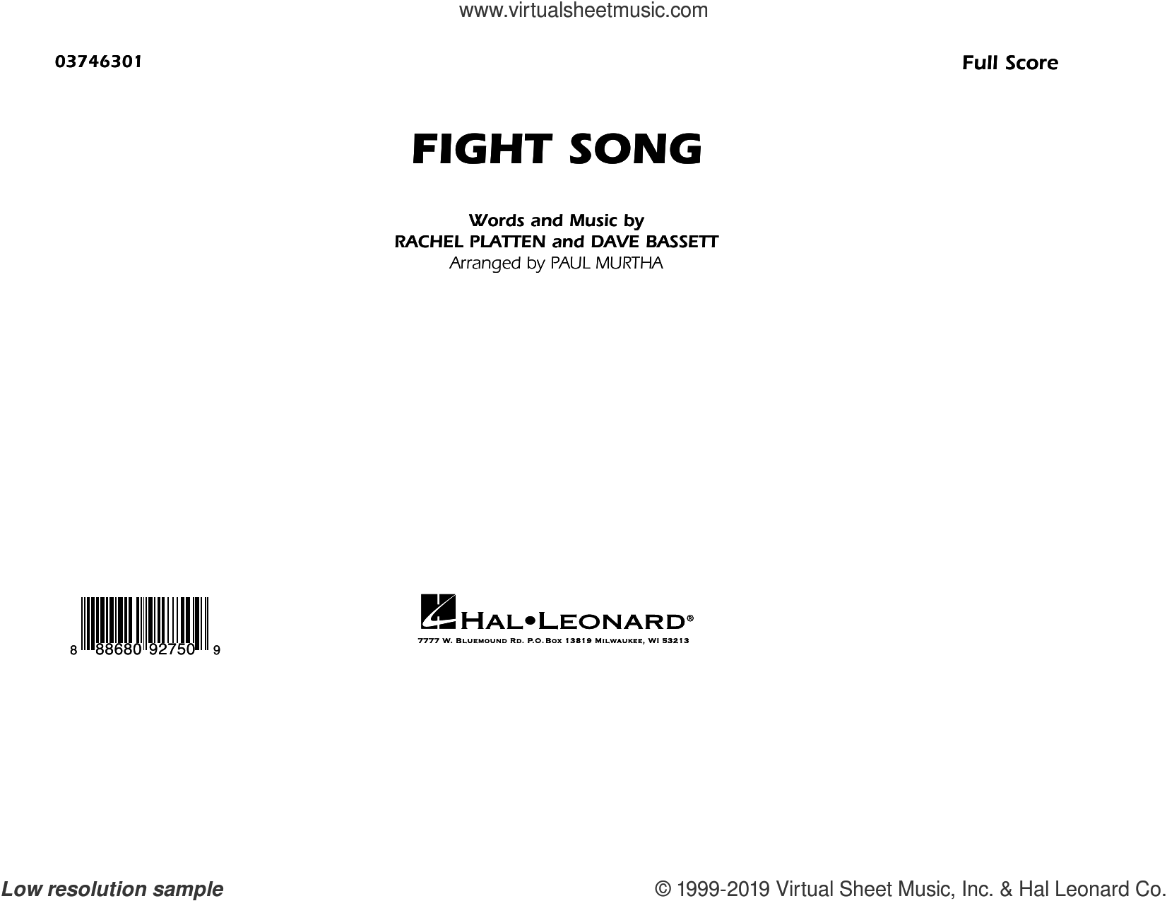Fight Song (arr. Paul Murtha) (COMPLETE) sheet music for marching band by Paul Murtha, Dave Bassett and Rachel Platten, intermediate skill level