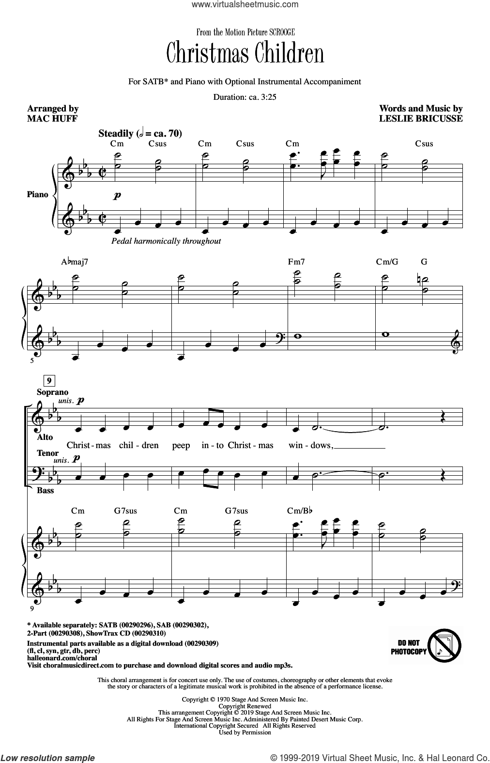 Christmas Children (from Scrooge) (arr. Mac Huff) sheet music for choir (SATB: soprano, alto, tenor, bass) by Leslie Bricusse and Mac Huff, intermediate skill level