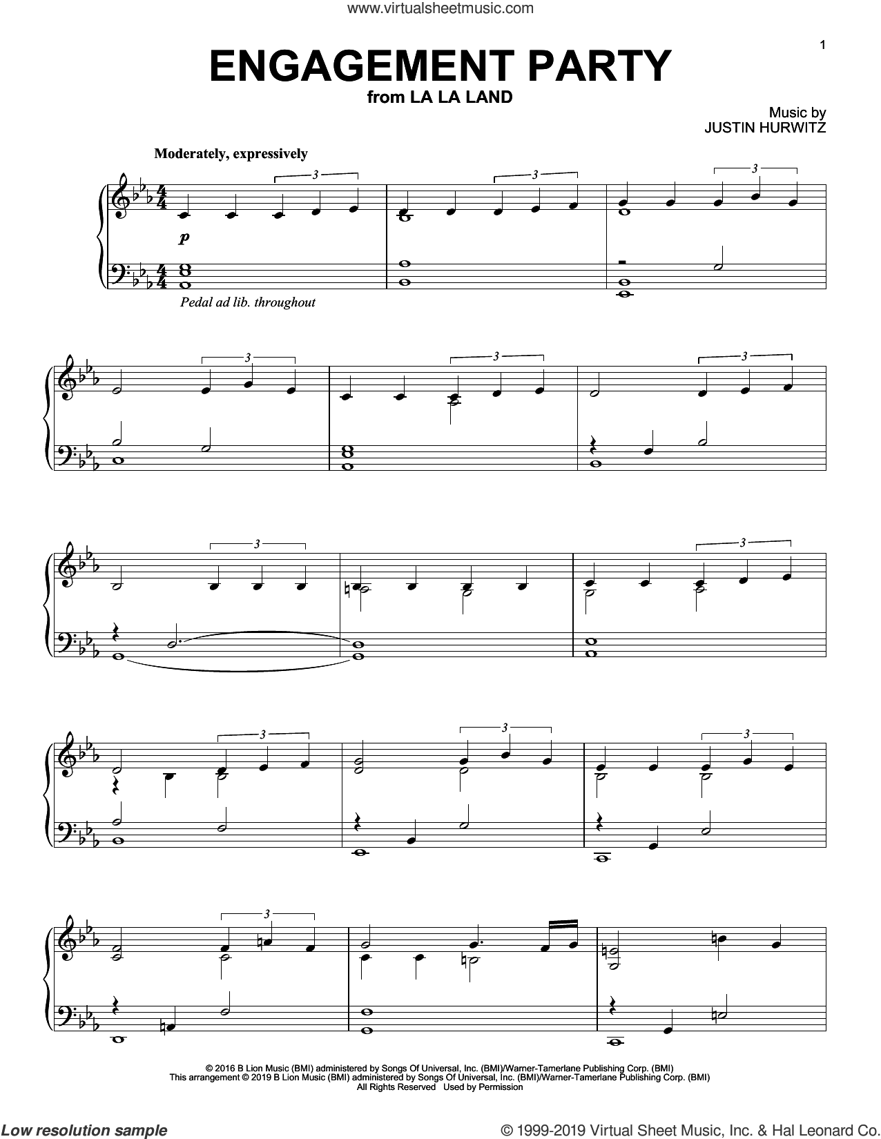 Engagement Party (from La La Land) sheet music for piano solo by Justin Hurwitz, Benj Pasek and Justin Paul, intermediate skill level