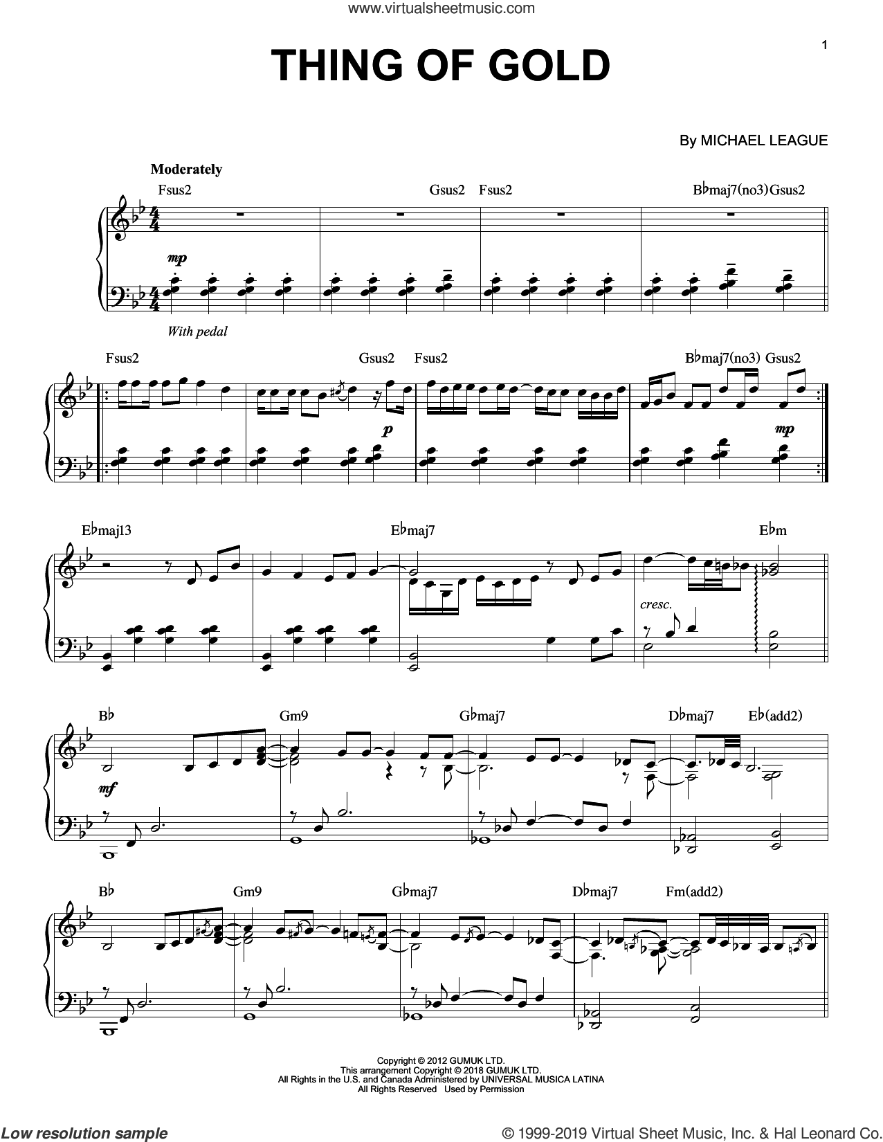 Thing Of Gold sheet music for piano solo by Snarky Puppy and Michael League, intermediate skill level