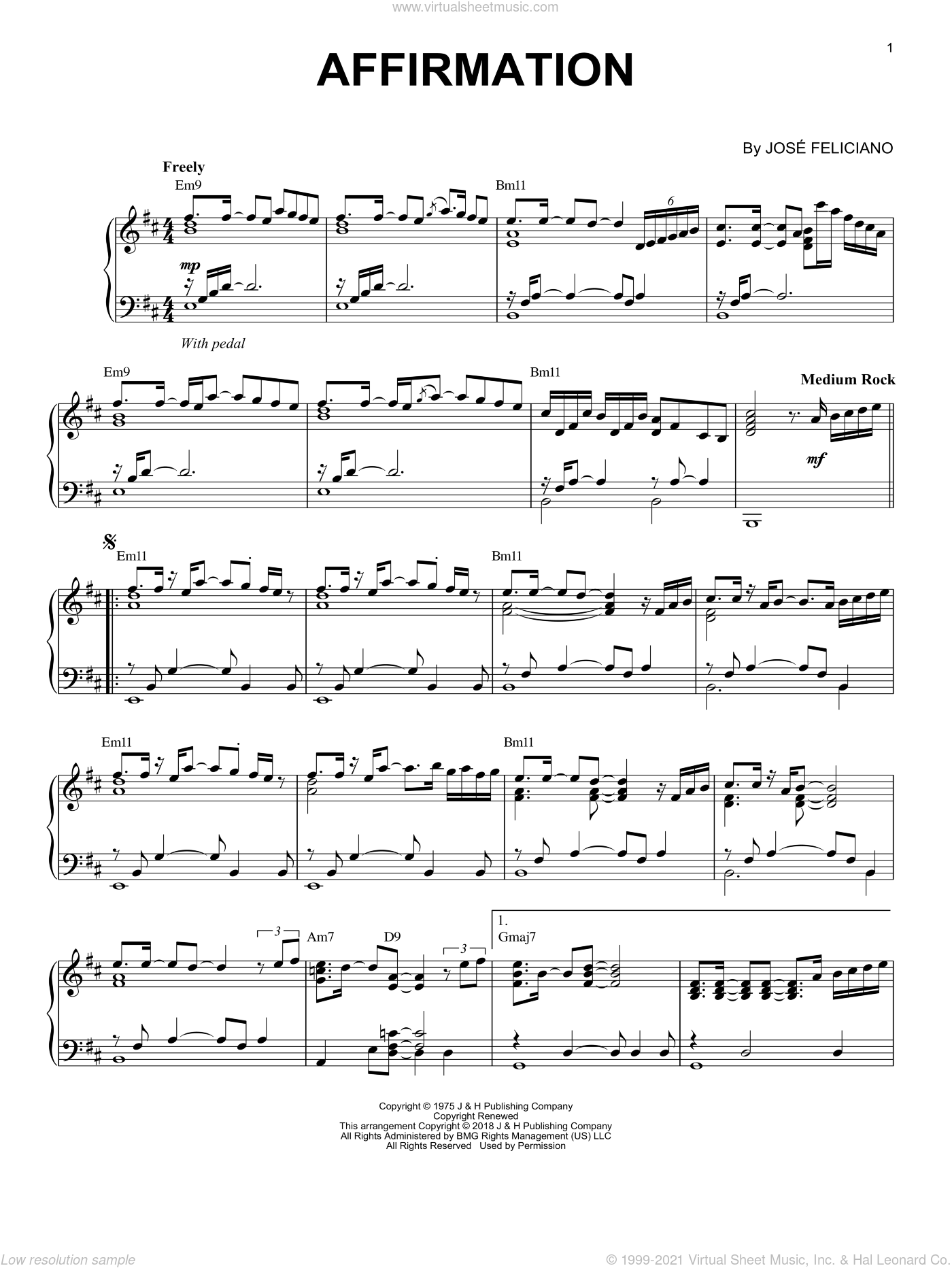 Affirmation sheet music for piano solo by George Benson and Jose Feliciano, intermediate skill level
