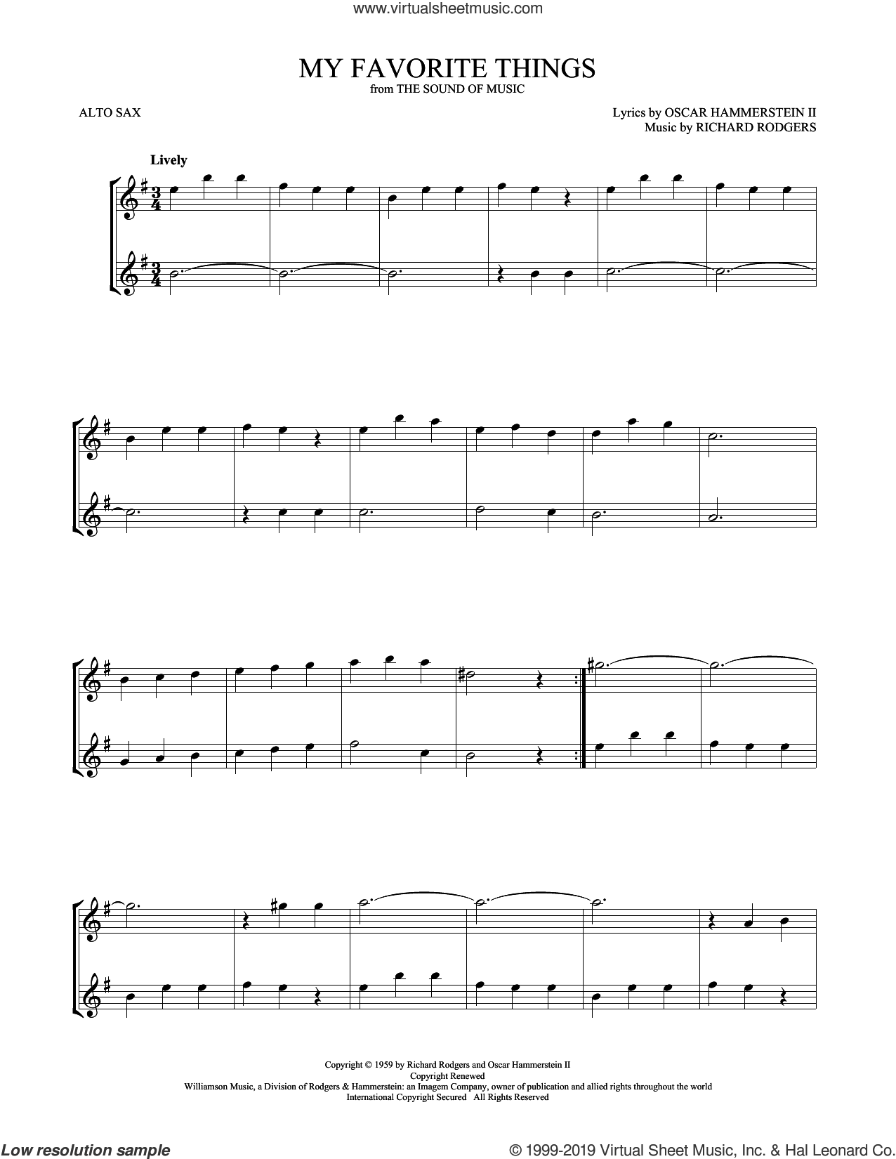 My Favorite Things (from The Sound Of Music) sheet music for two alto saxophones (duets) by Julie Andrews, Oscar II Hammerstein and Richard Rodgers, intermediate skill level