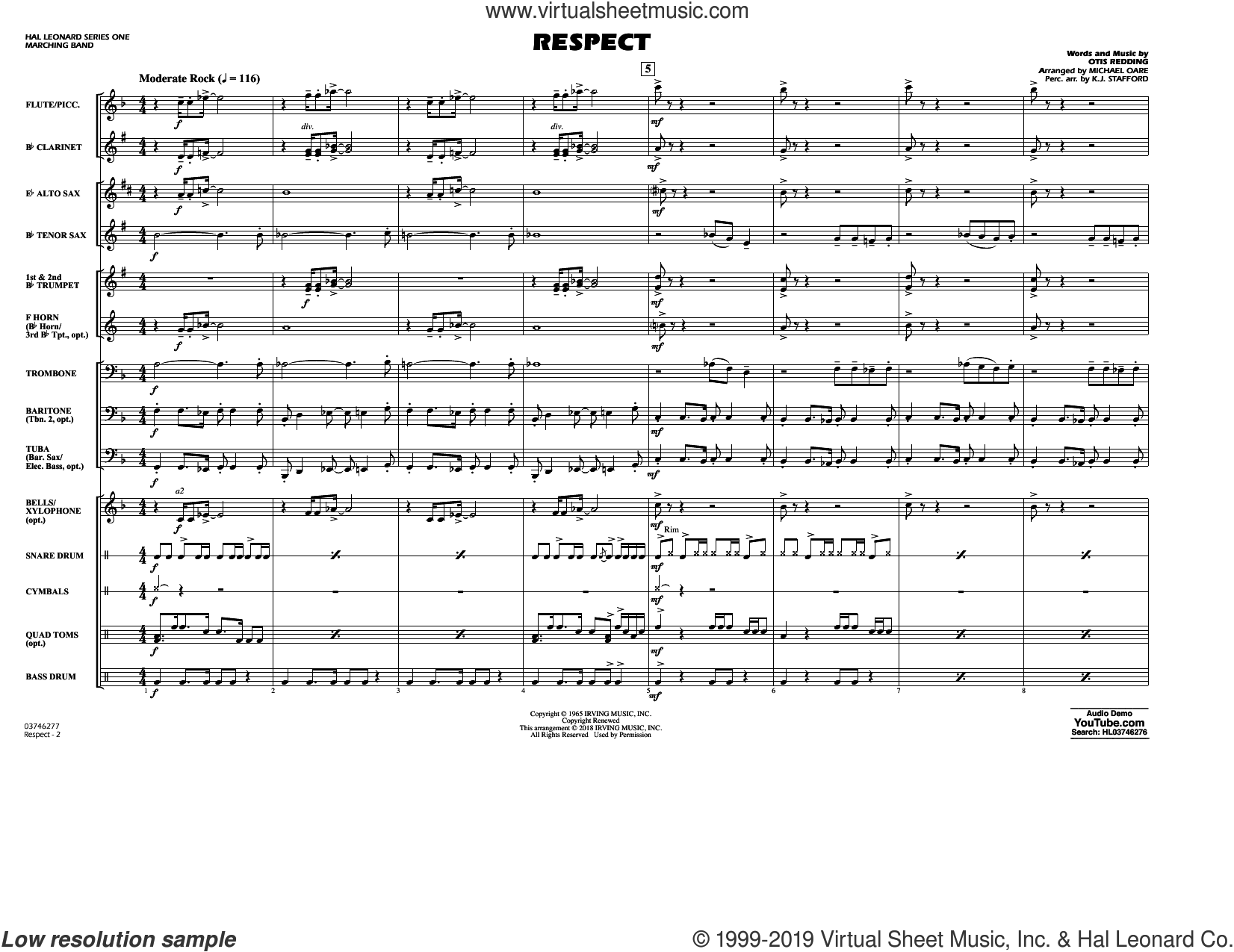 Respect (arr. Michael Oare) (COMPLETE) sheet music for marching band by Aretha Franklin, K.J. Stafford, Michael Oare and Otis Redding, intermediate skill level